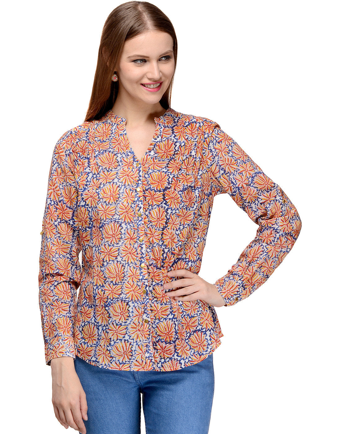 Hand block printed Button-Front Blouse