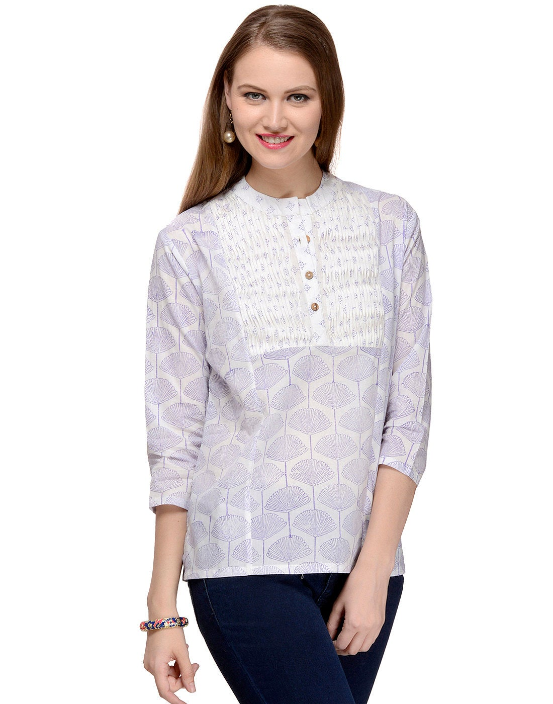 Subtle purple Hand Block Printed Top