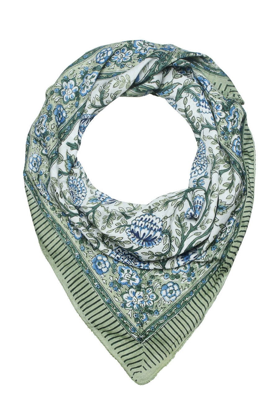 Soft cotton hand block printed scarf in white with blue floral & green leaves