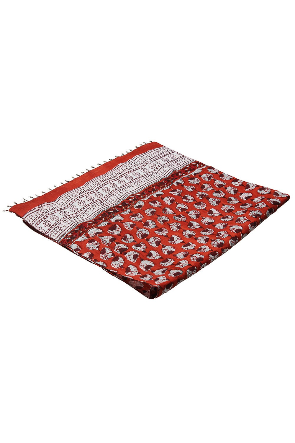 Hand block printed women scarf in dark orange/ rust colour with beads border