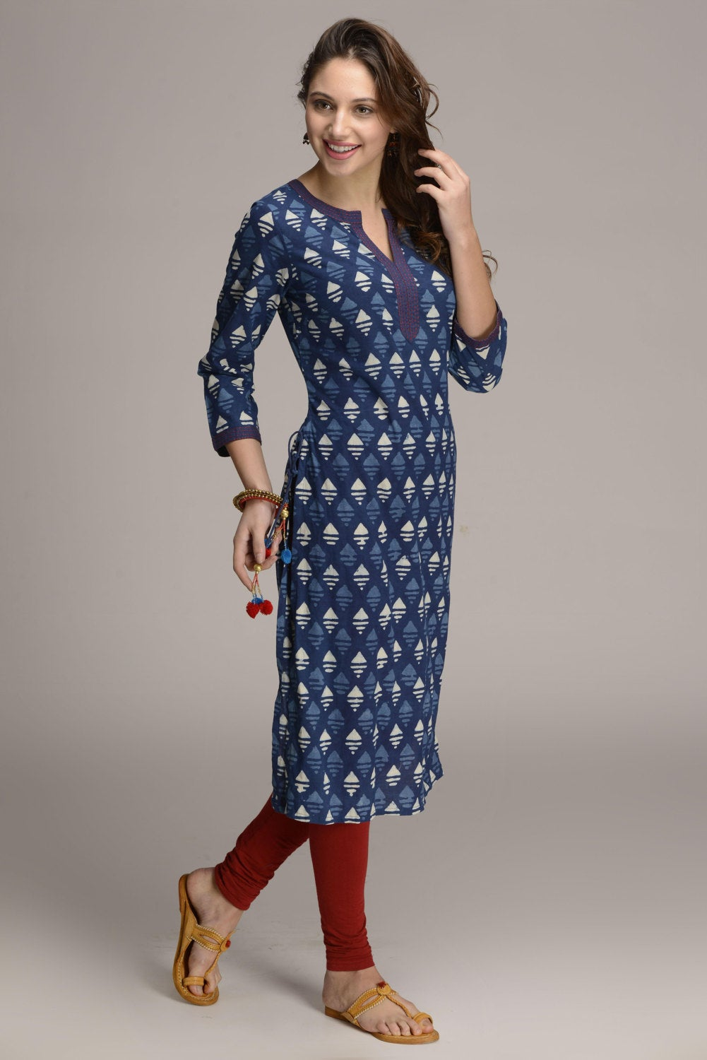 Indigo Hand block printed ethnic long Indian kurta with side tassels and hand embroidery on neck