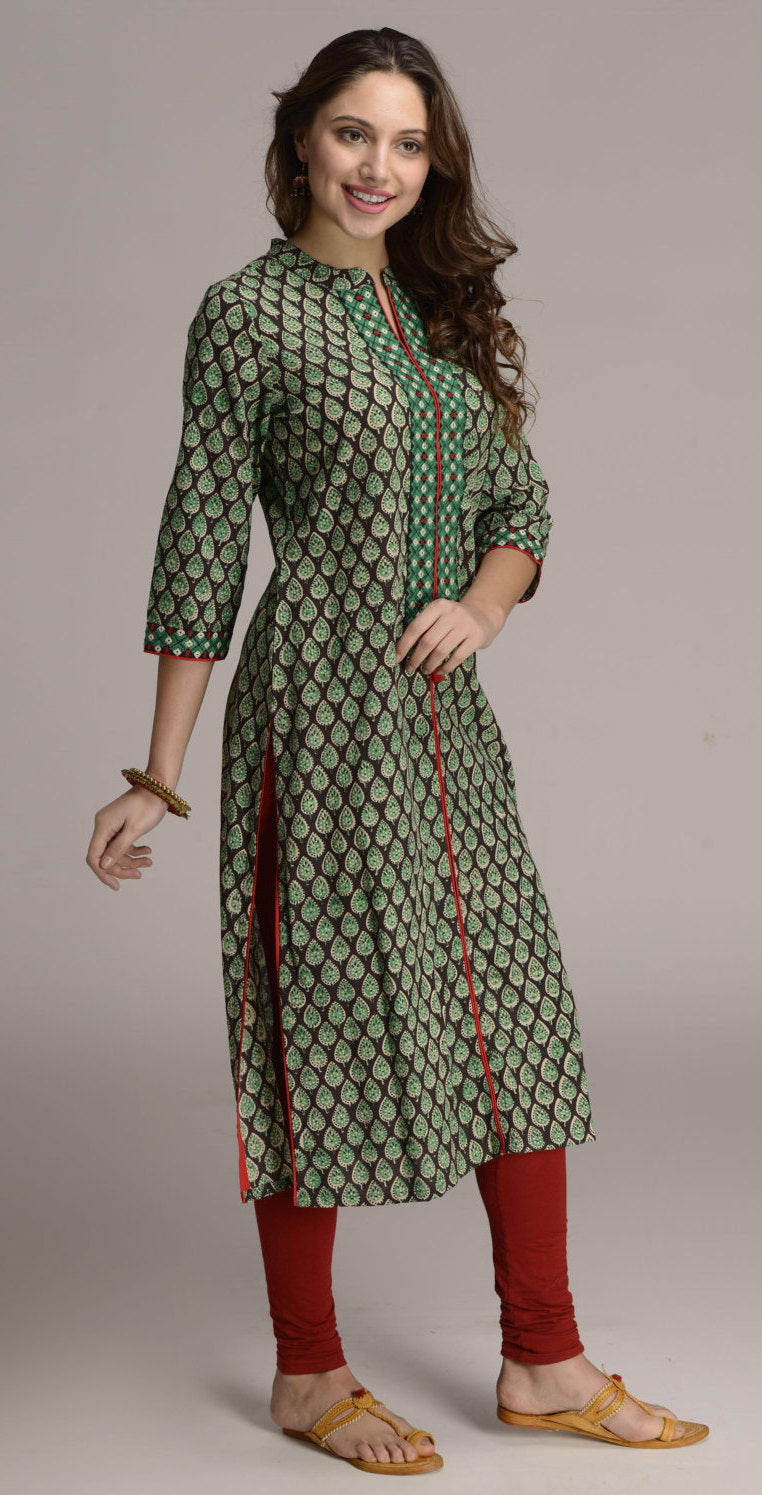 Hand block paisley printed Indian ethnic long kurta with embroidery