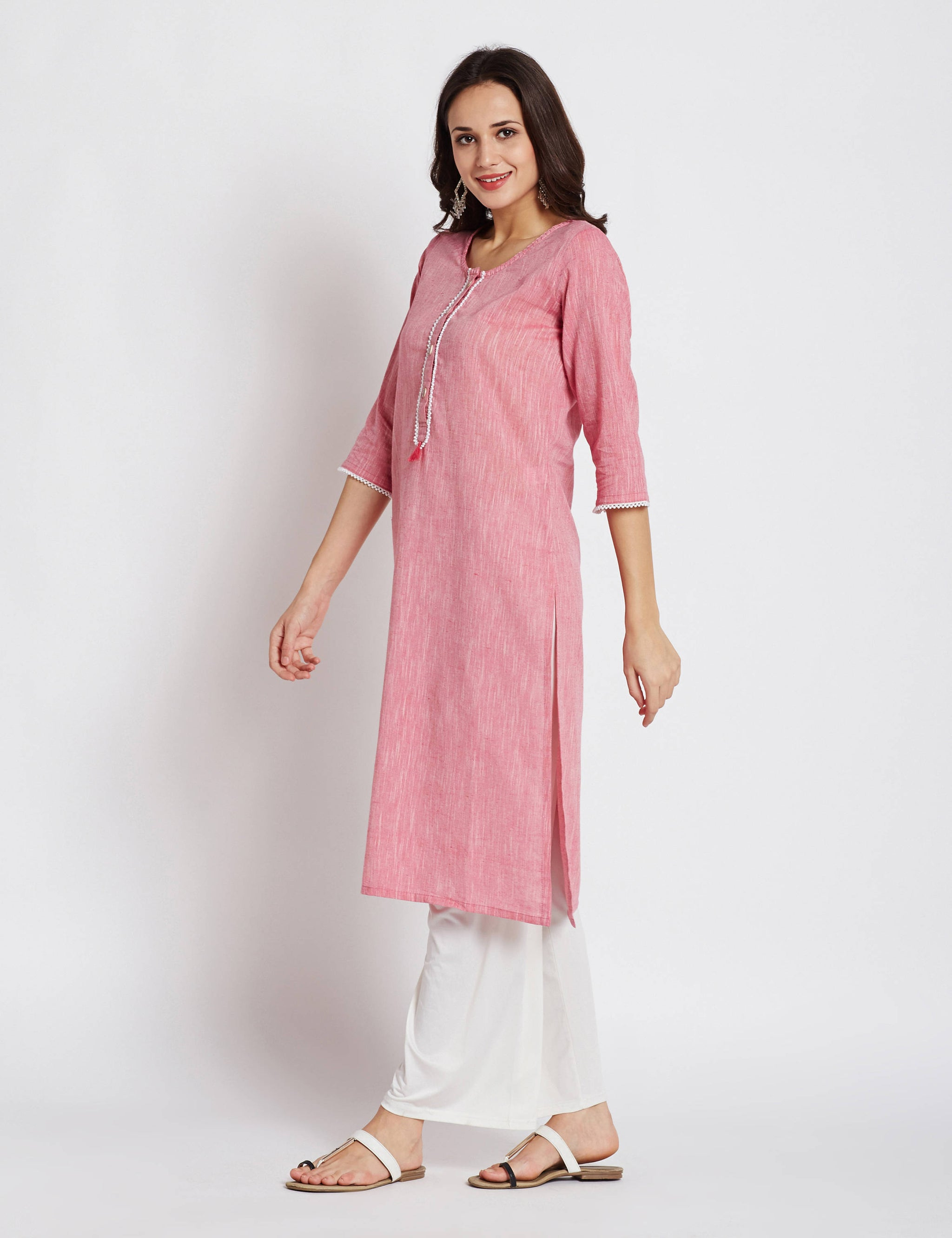 Indian ethnic long kurta with pocket in soft pink colour with beads border detailing