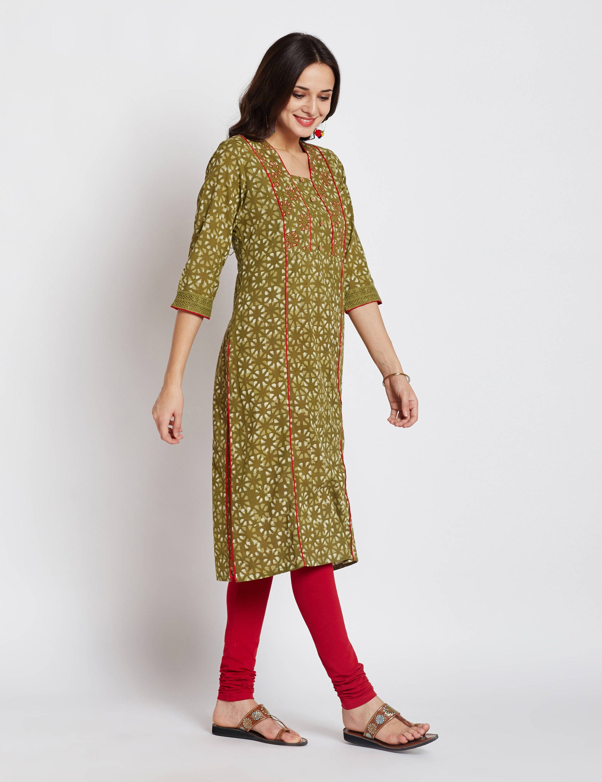 Hand block dabu printed ethnic long Indian kurta with trims on front and embroidery on neck