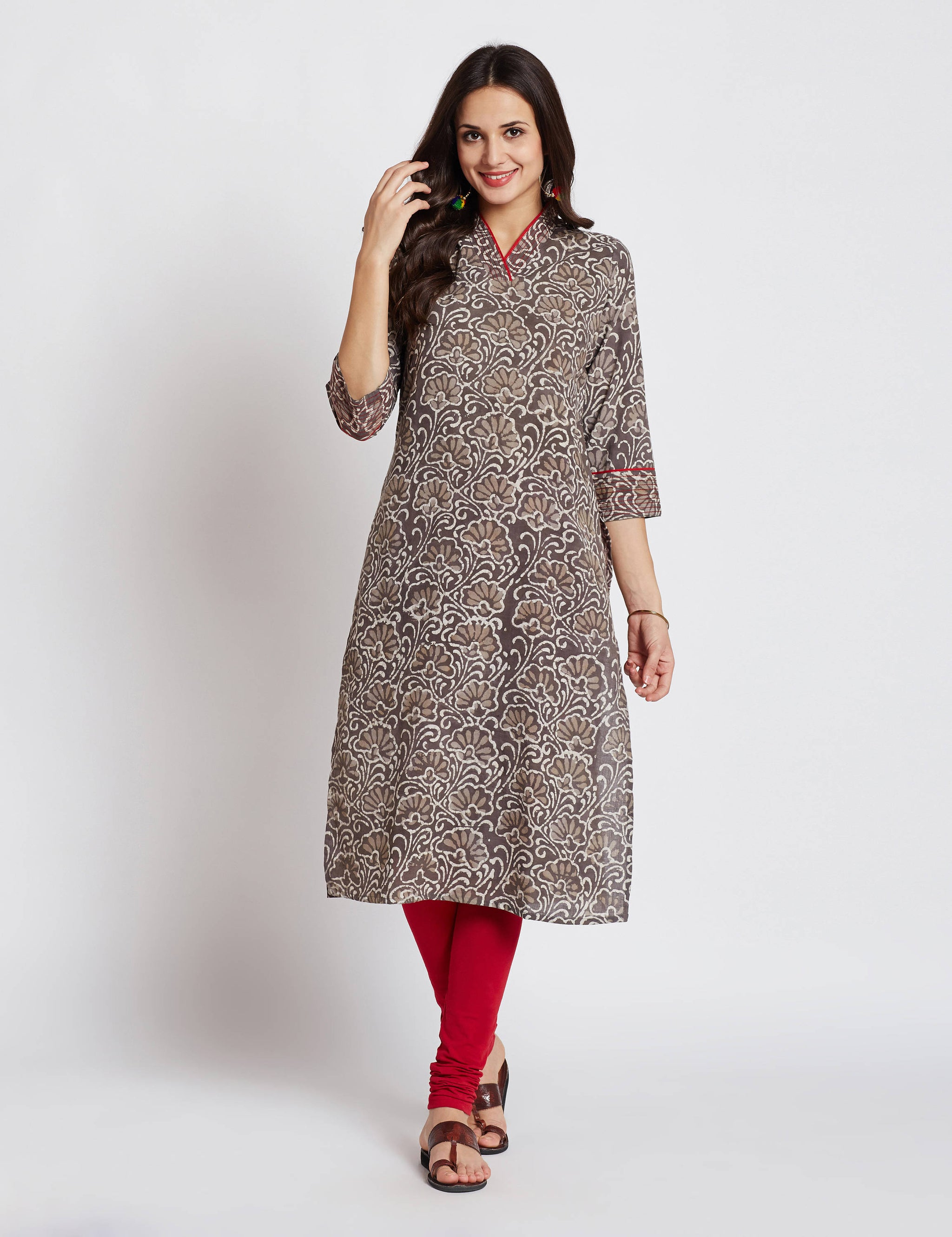 Hand block dabu printed ethnic long Indian kurta with contrast trims and  embroidery on V neck and sleeves