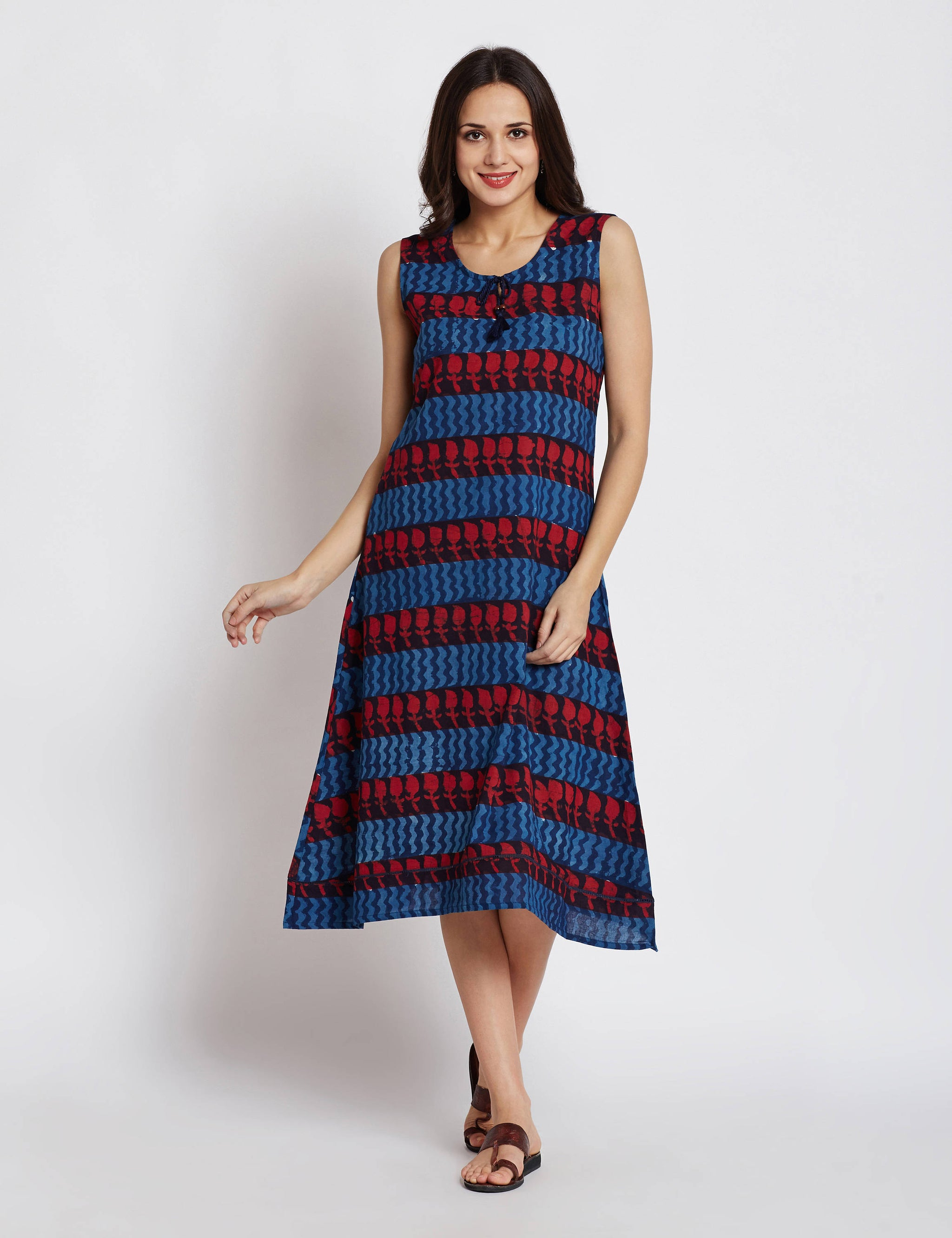 Hand block indigo dabu printed one piece sleeveless dress