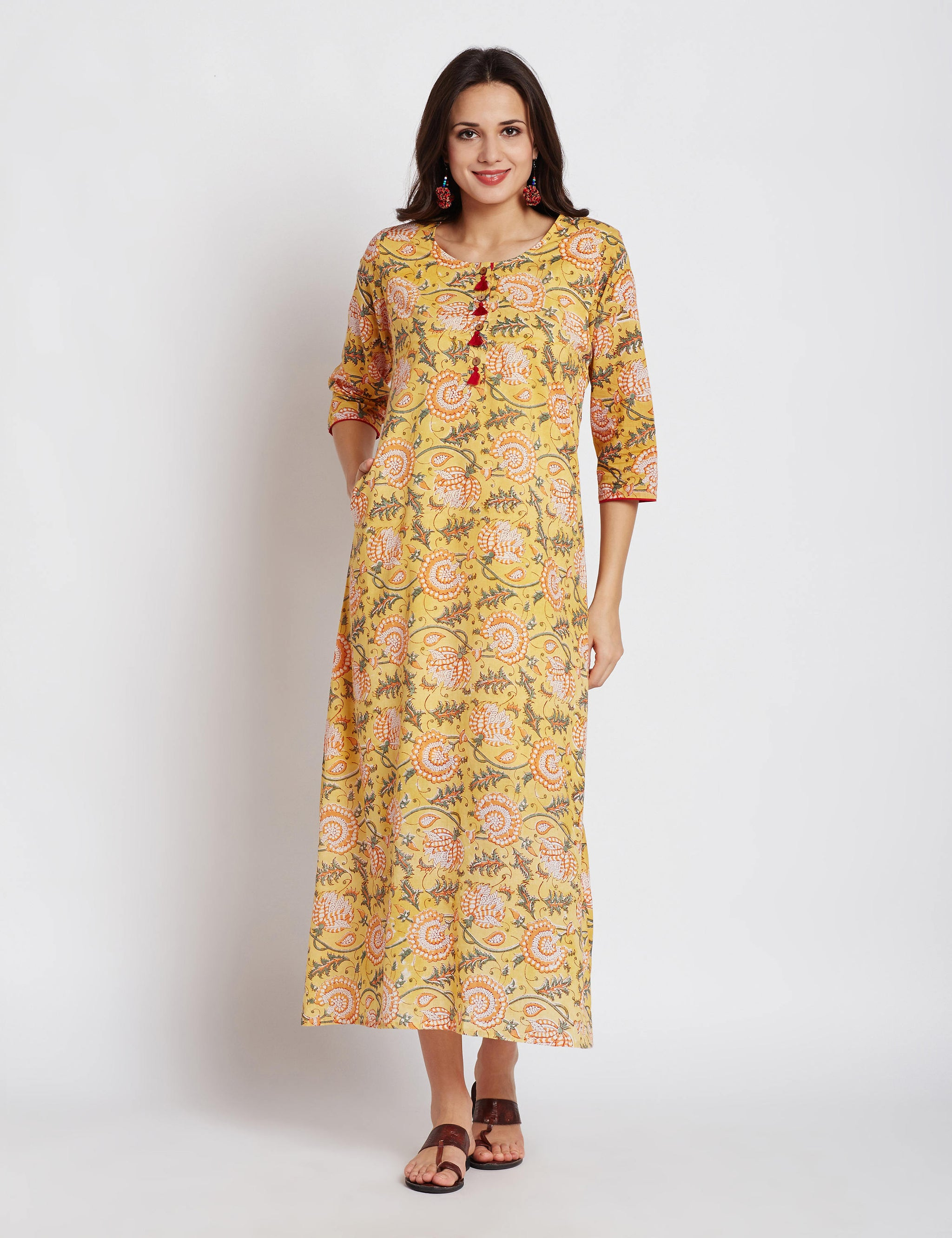 Hand block yellow floral printed one piece long dress