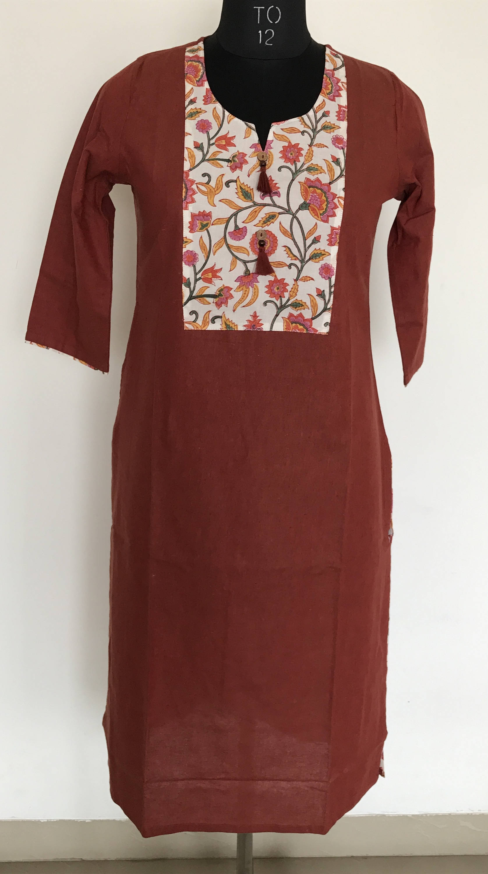 Indian ethnic long kurta with pocket in rust orange colour with hand block printed  yoke