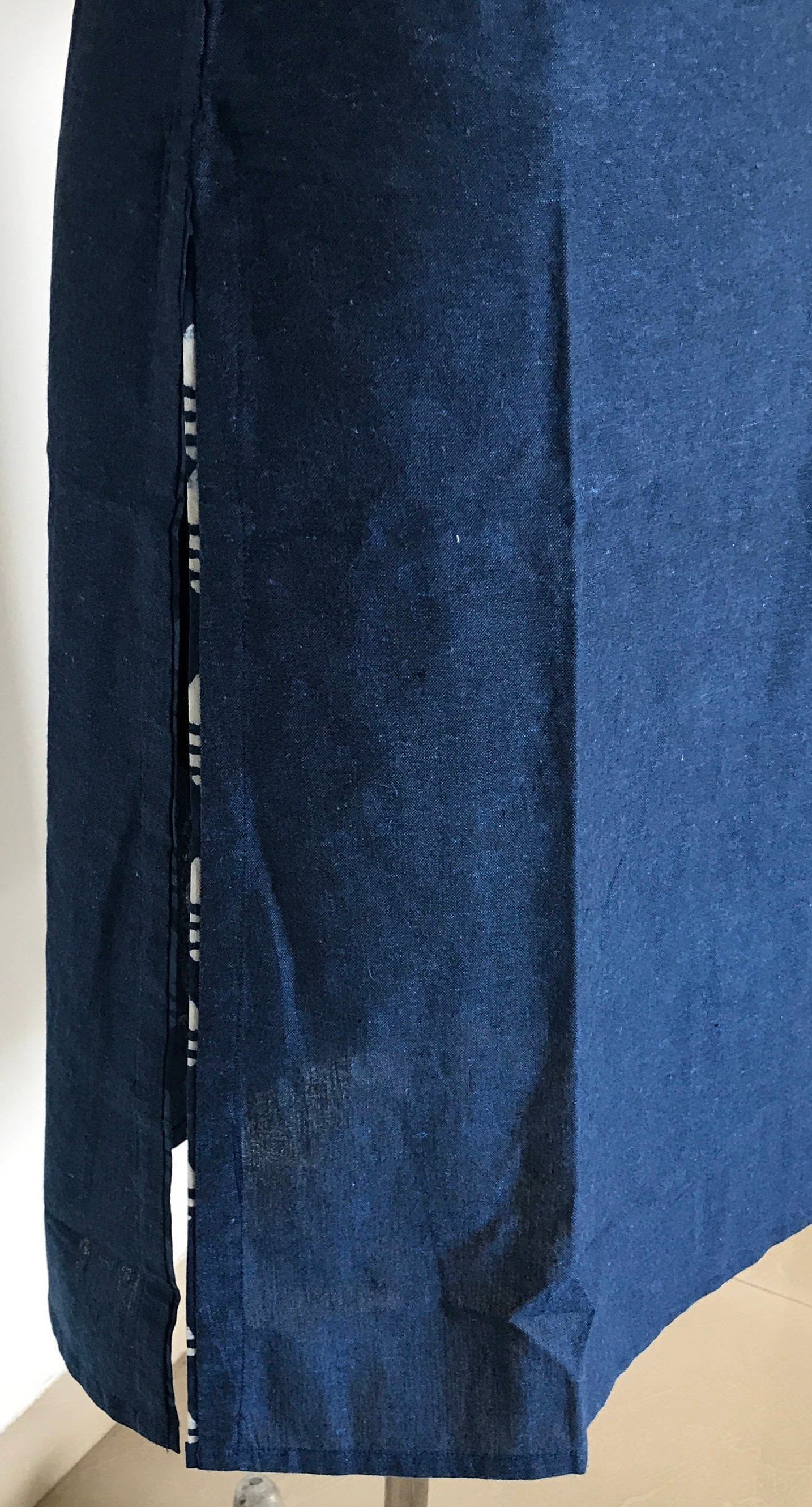 Indian ethnic long kurta with pocket in blue colour with hand block printed indigo yoke