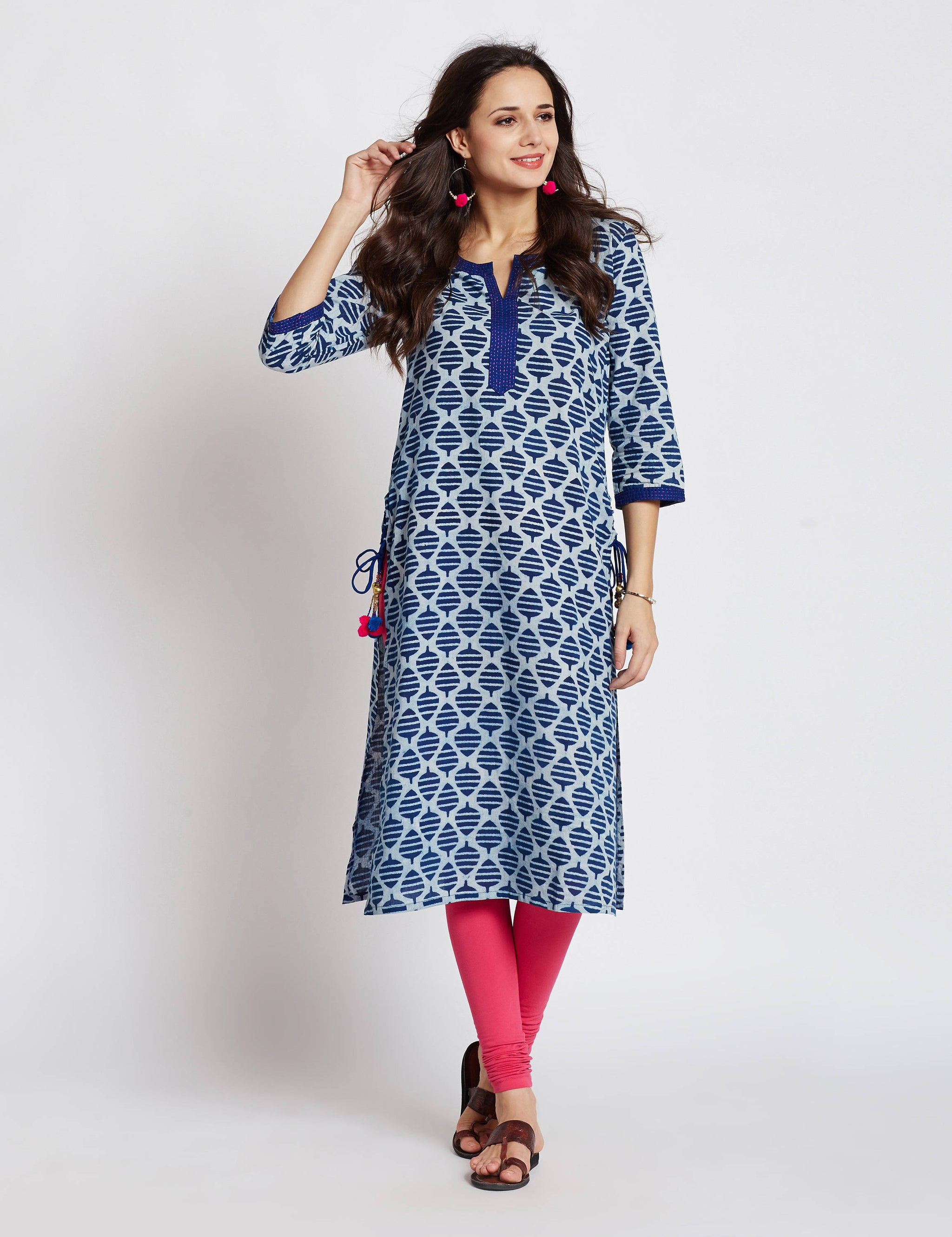 Indigo Hand block printed ethnic long Indian kurta with side tassels and hand embroidery on neck and sleeves