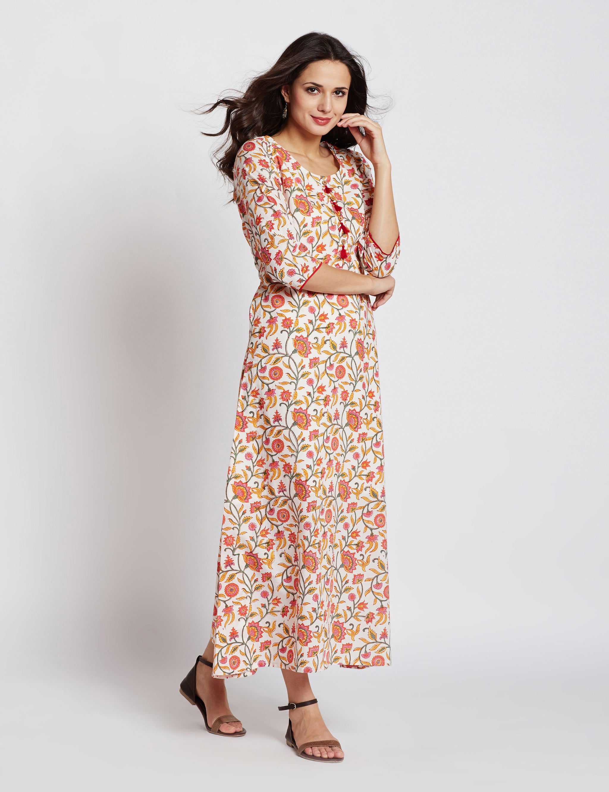 Hand block white floral printed one piece long dress