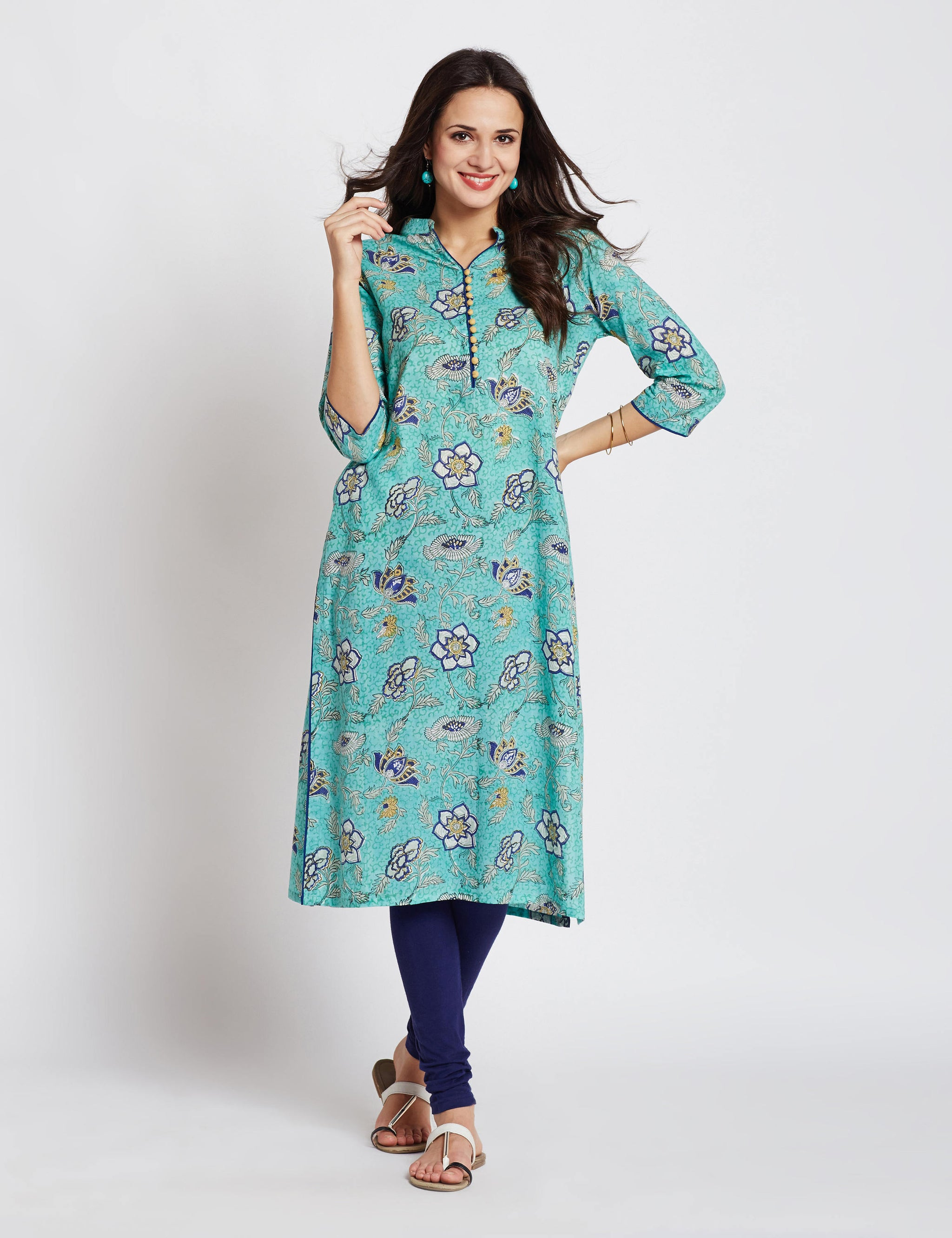 Hand block aqua green printed ethnic long Indian pocket kurta