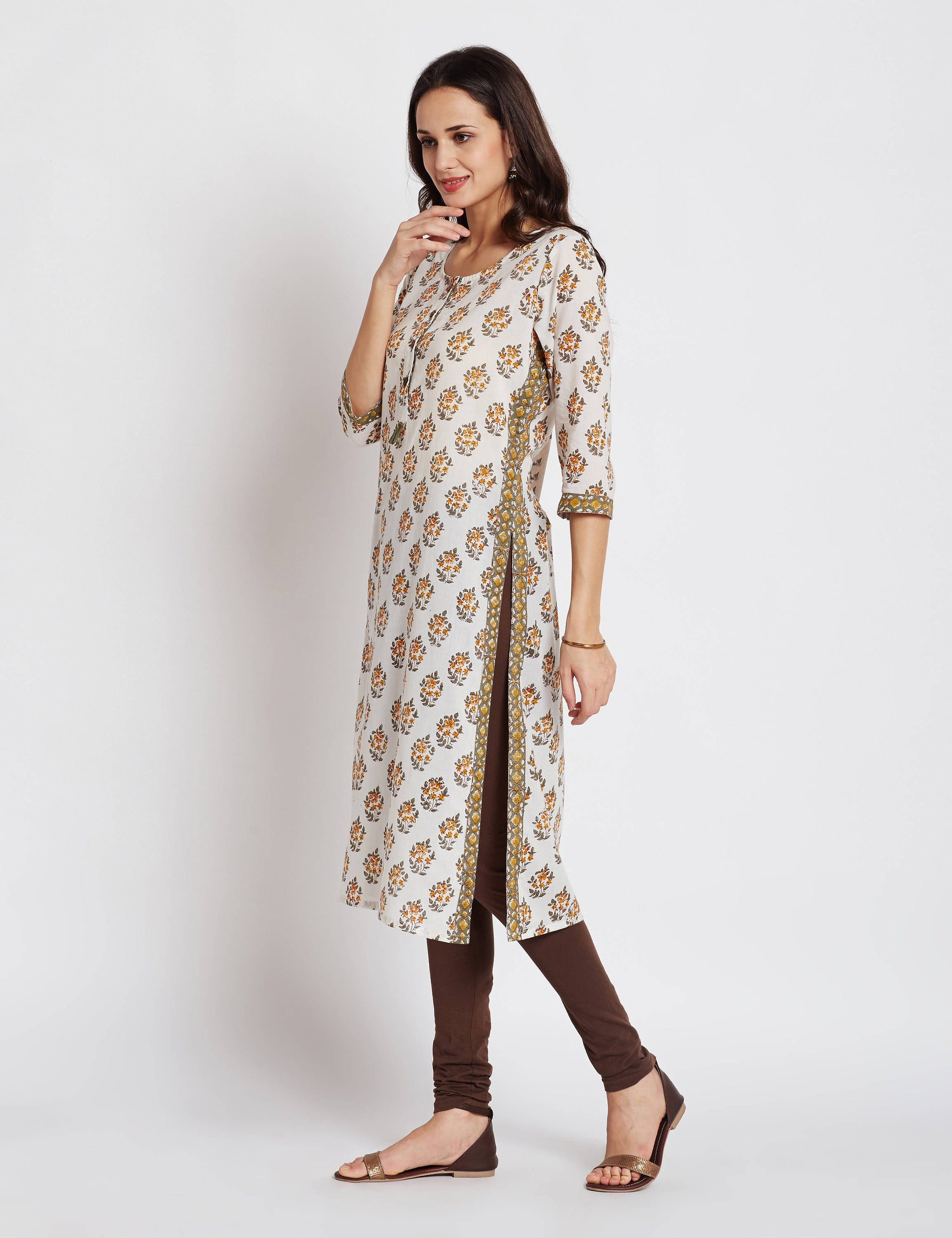 Hand block printed ethnic long Indian kurta with border detailing and front button placket