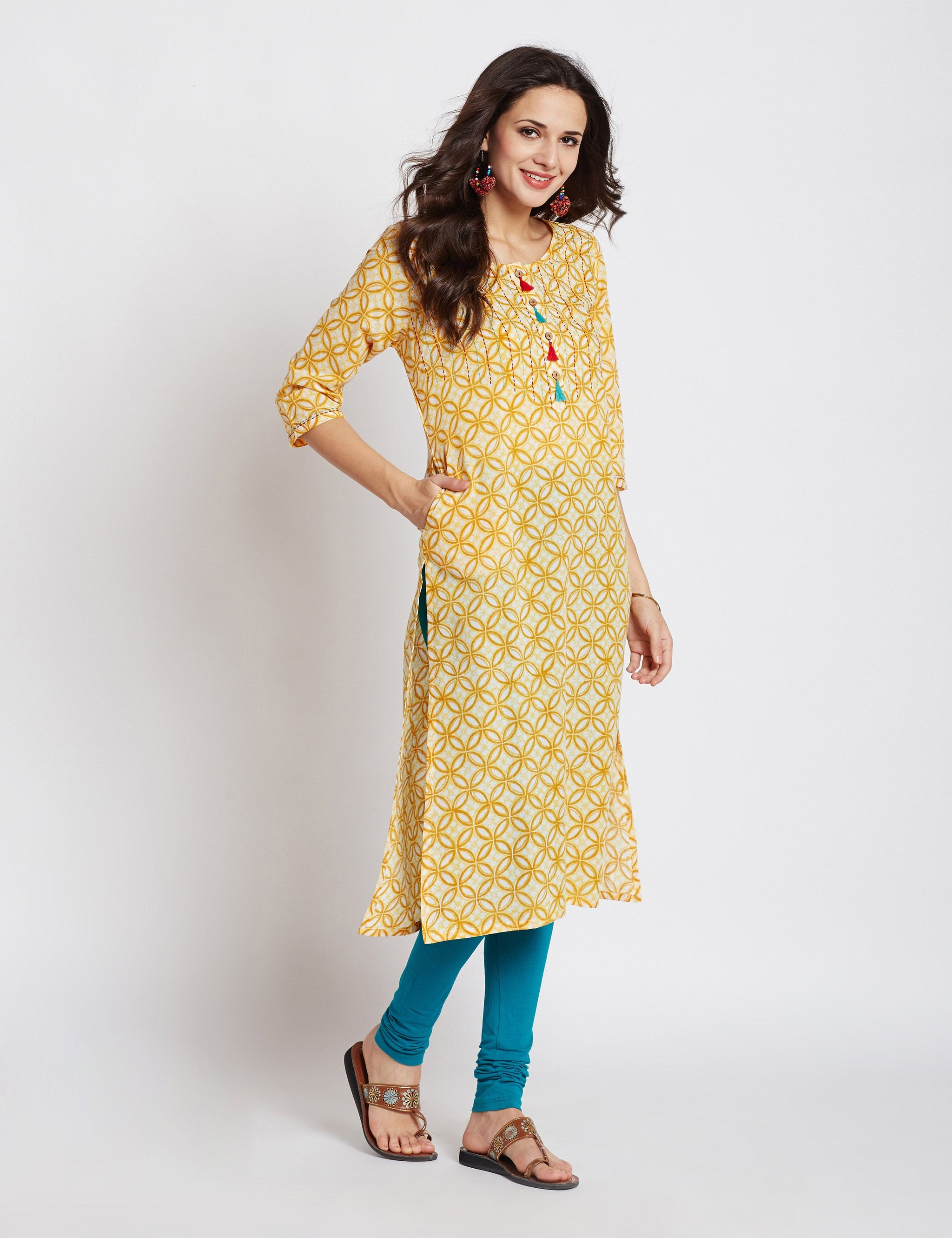 Hand block printed ethnic long Indian pocket kurta with kantha hand embroidery & tassels on front placket