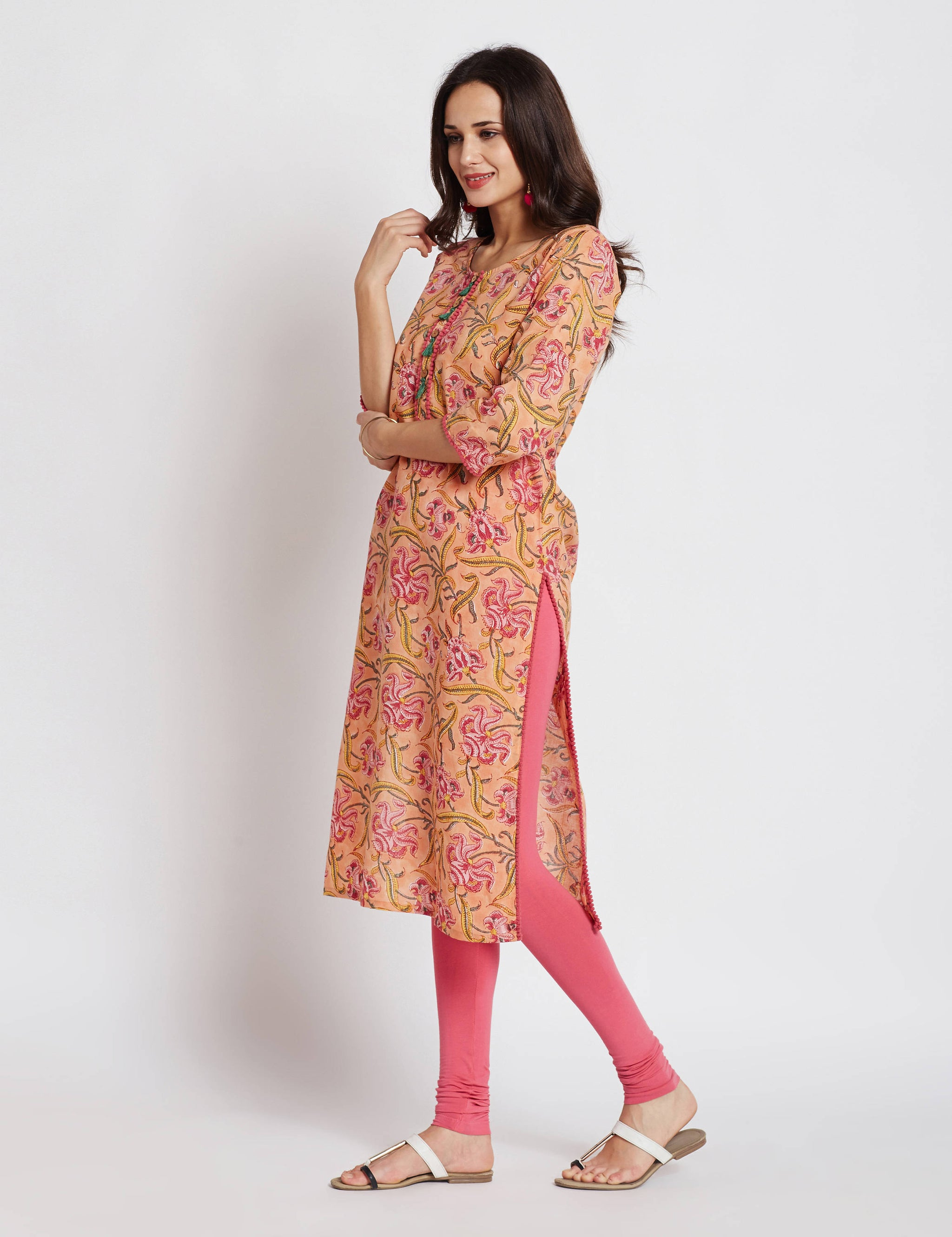 Hand block printed ethnic long Indian kurta with pompom trims & tassels on front