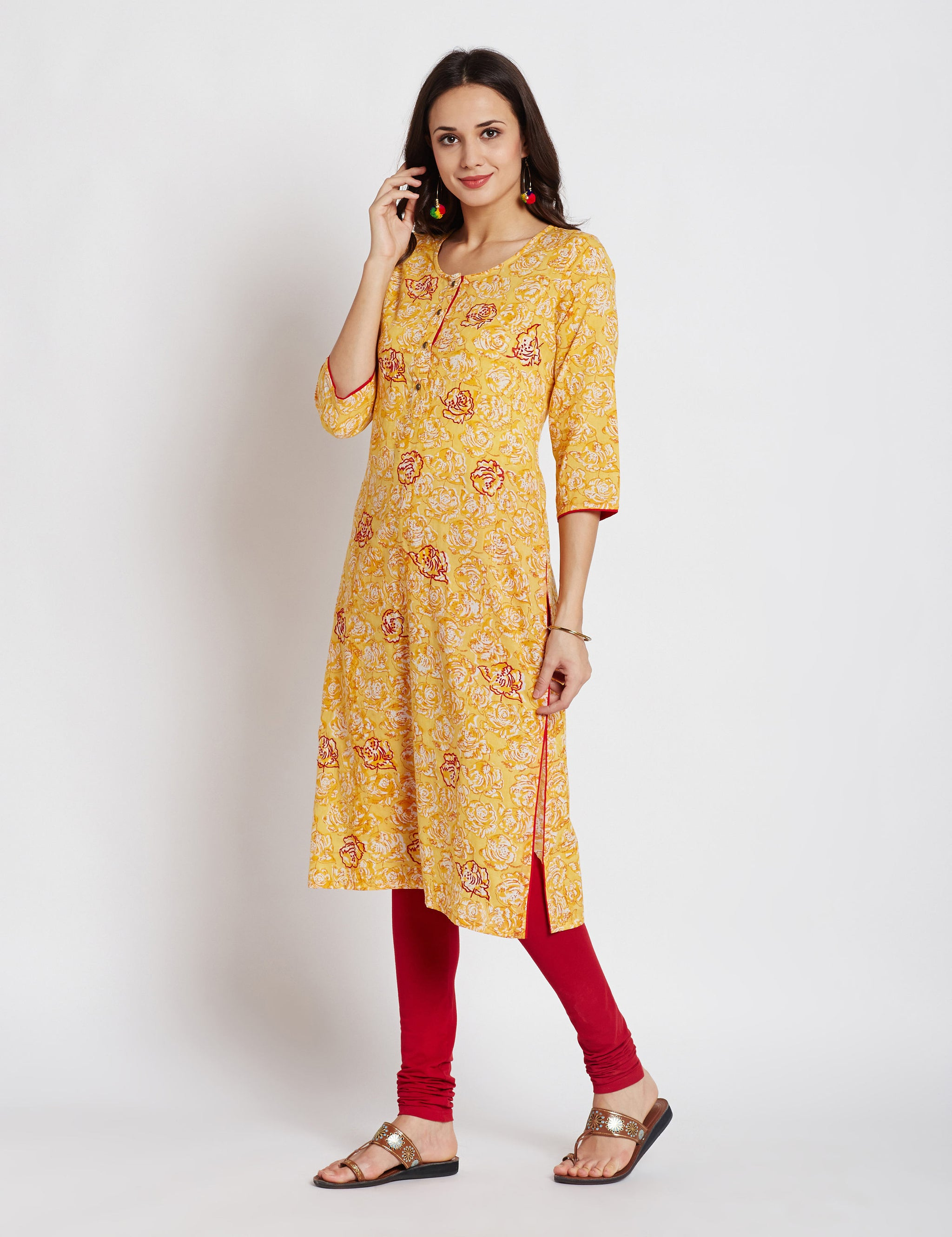 Hand block printed ethnic long Indian kurta with embroidery