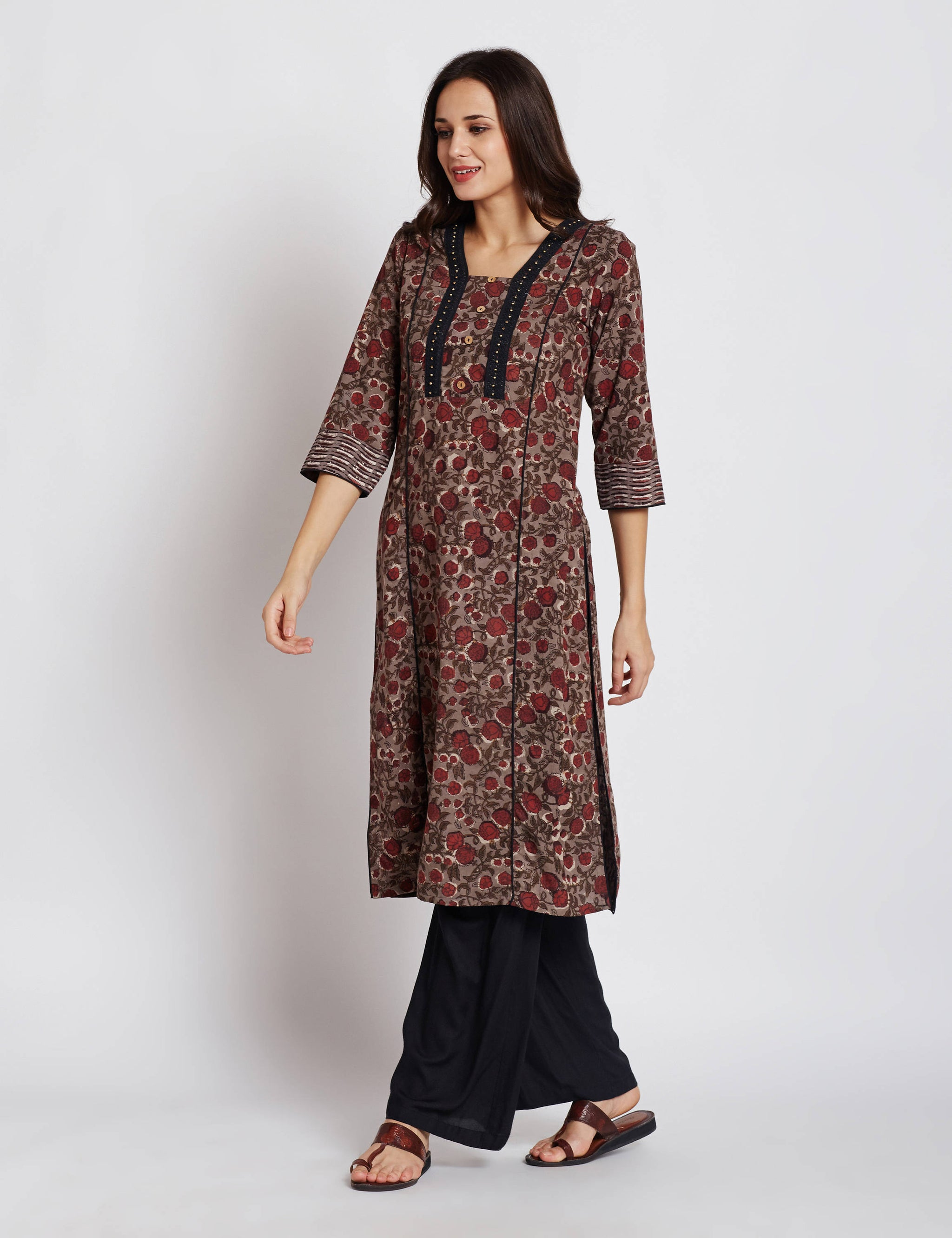 Hand block dabu printed ethnic long Indian kurta with trims on front and neck design with beads & lace