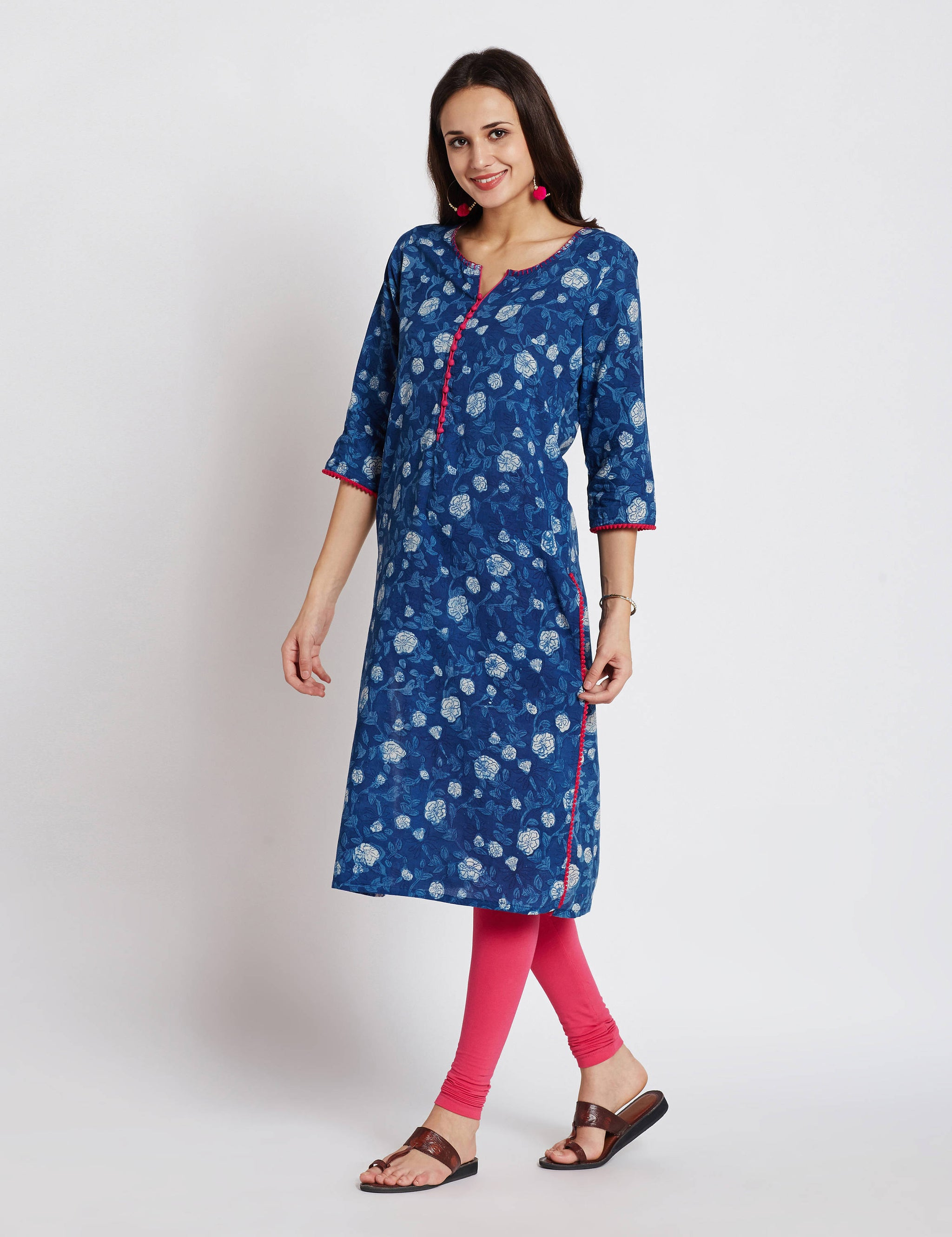 Indigo Hand block printed ethnic long Indian pocket kurta with hand embroidery & pompom lace