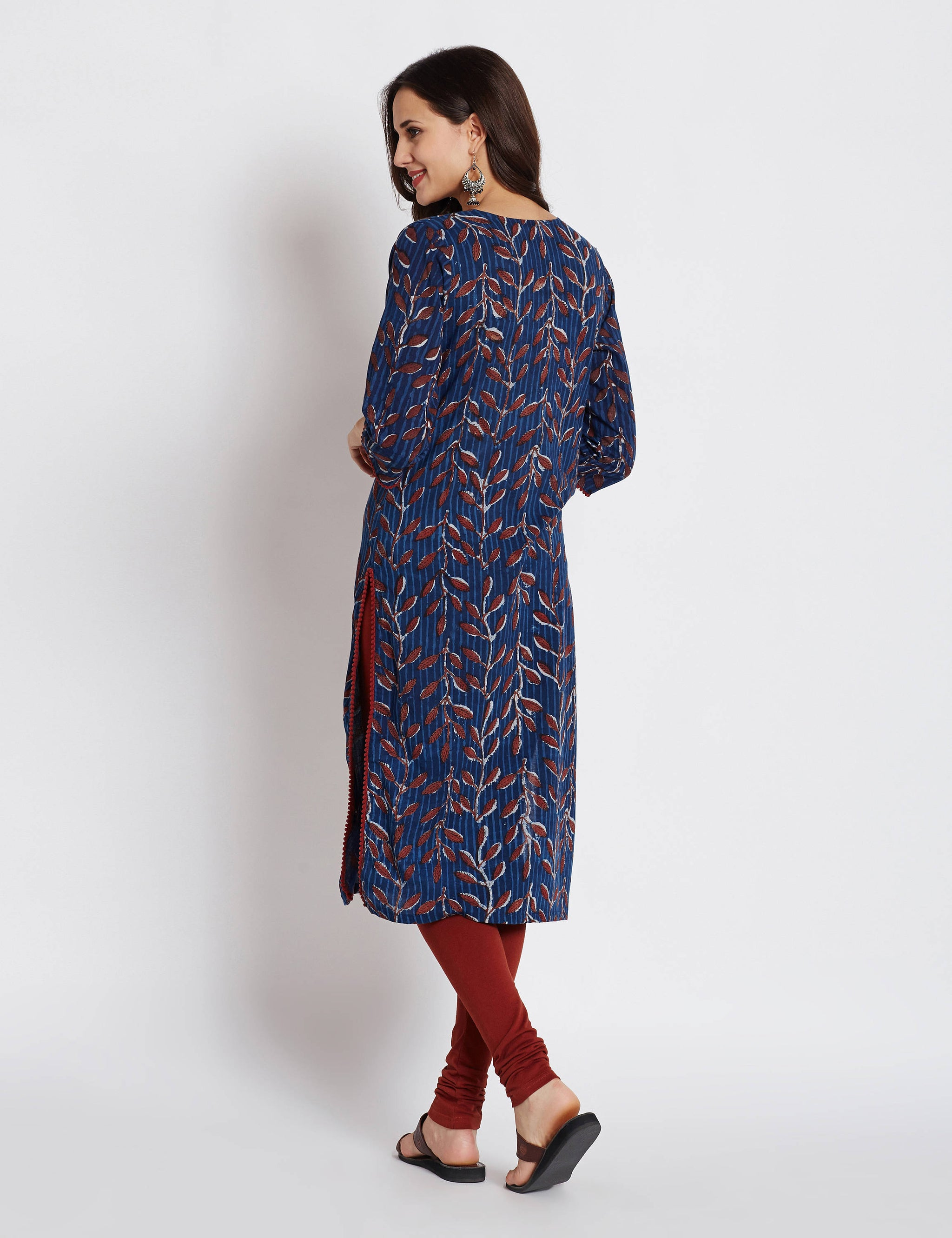 Indigo Hand block printed ethnic long Indian pocket kurta with pompom lace and tassel
