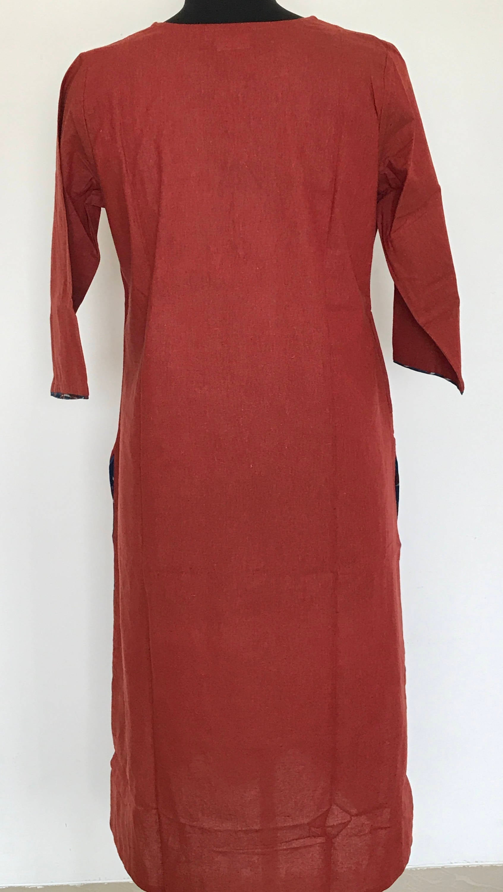 Indian ethnic long kurta with pocket in rust orange colour with hand block printed indigo yoke