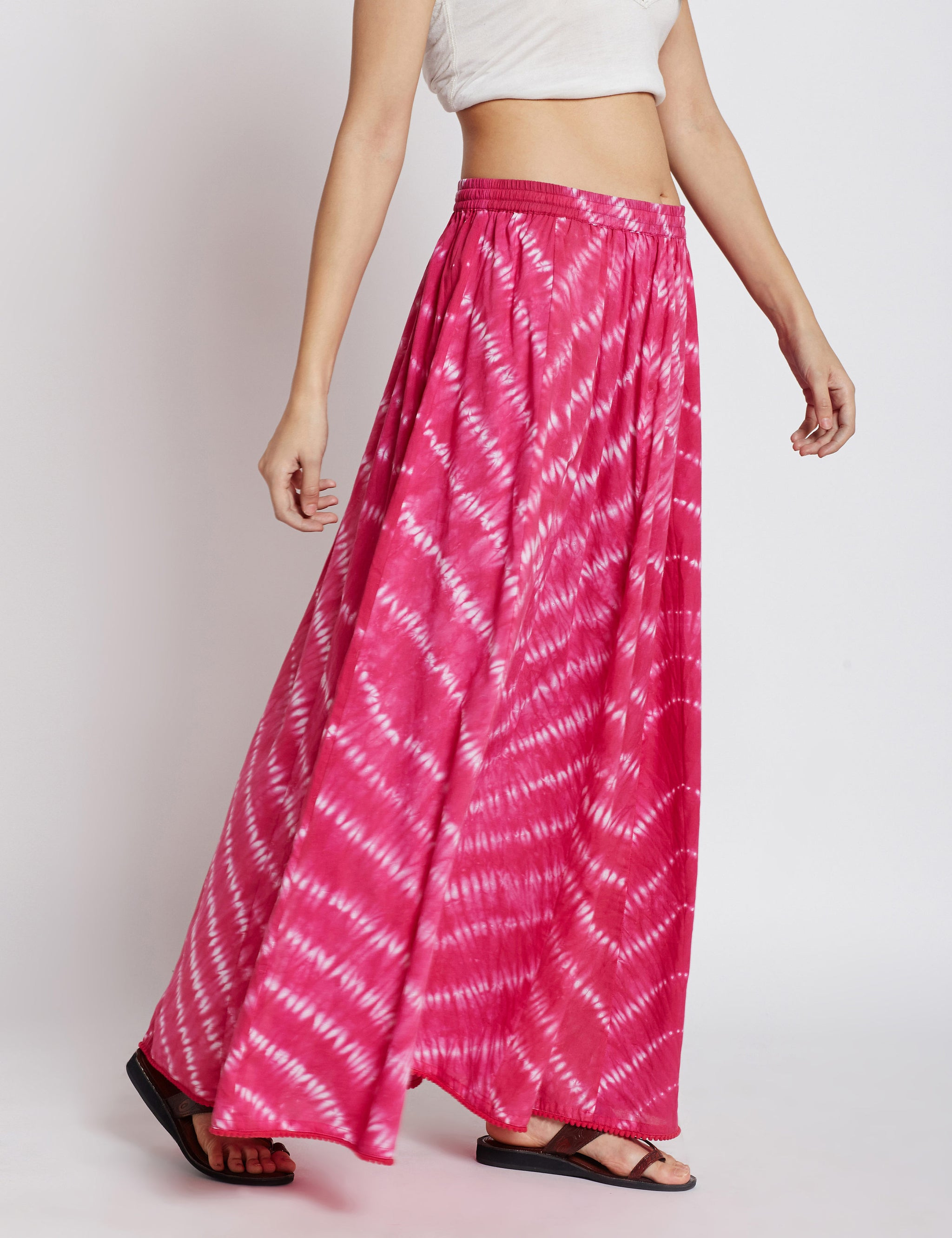Shibori panelled long skirt in hotpink colour