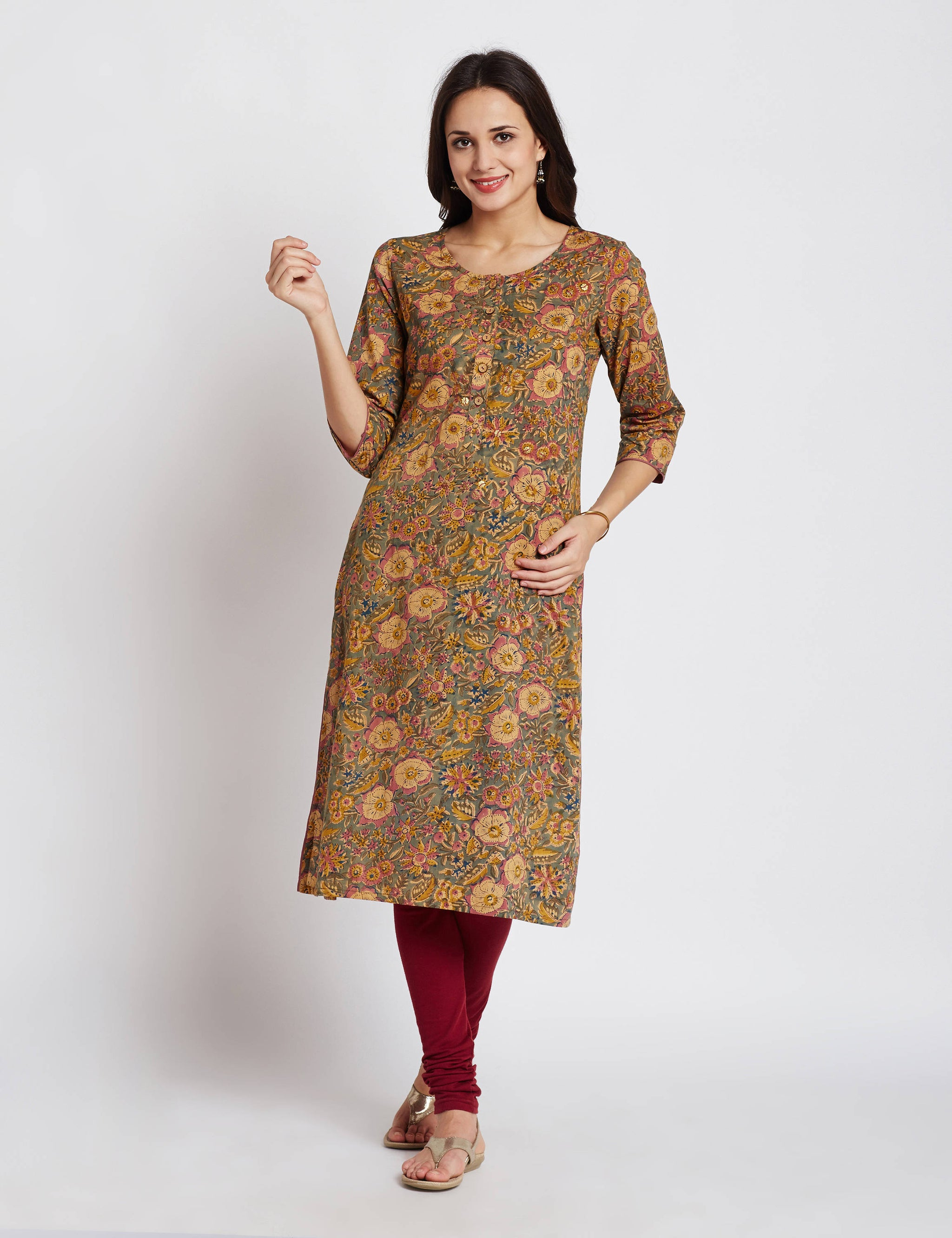 Hand block printed ethnic long Indian kurta with handwork, brass accessories on front  & trims on side slits