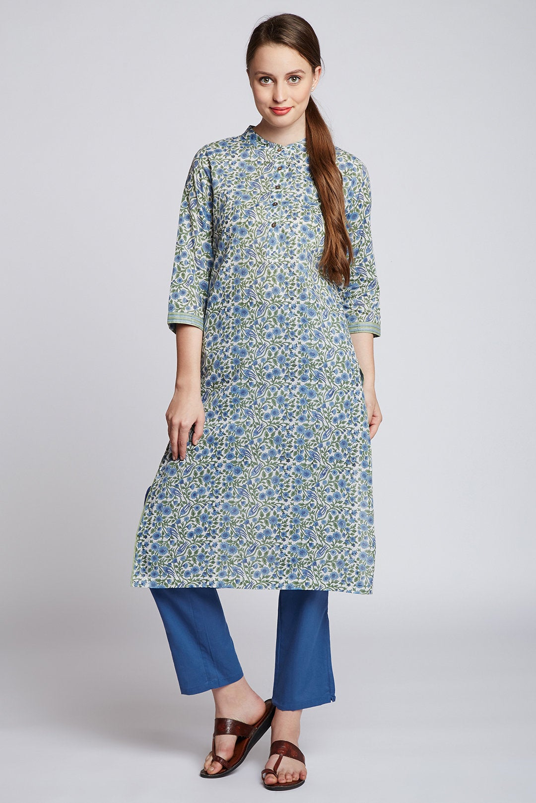 Hand block printed long kurta with blue straight pants