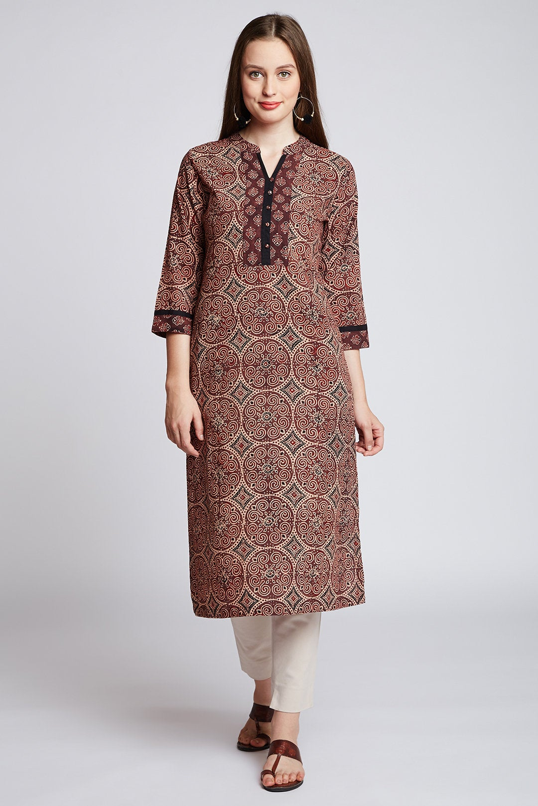 Hand block ajrakh printed Indian ethnic long kurta