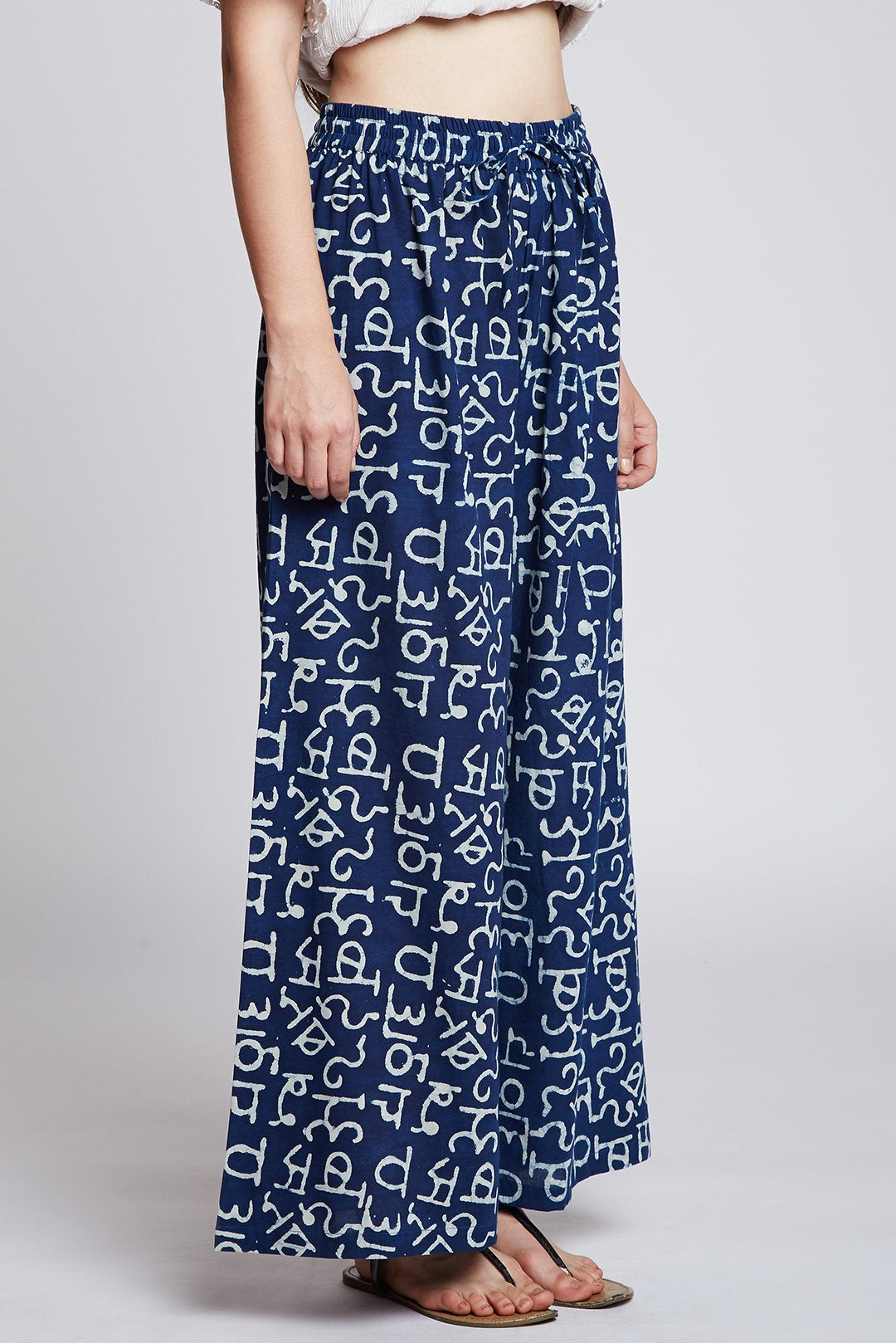 Indigo hand printed cotton palazzo pants / flared pants
