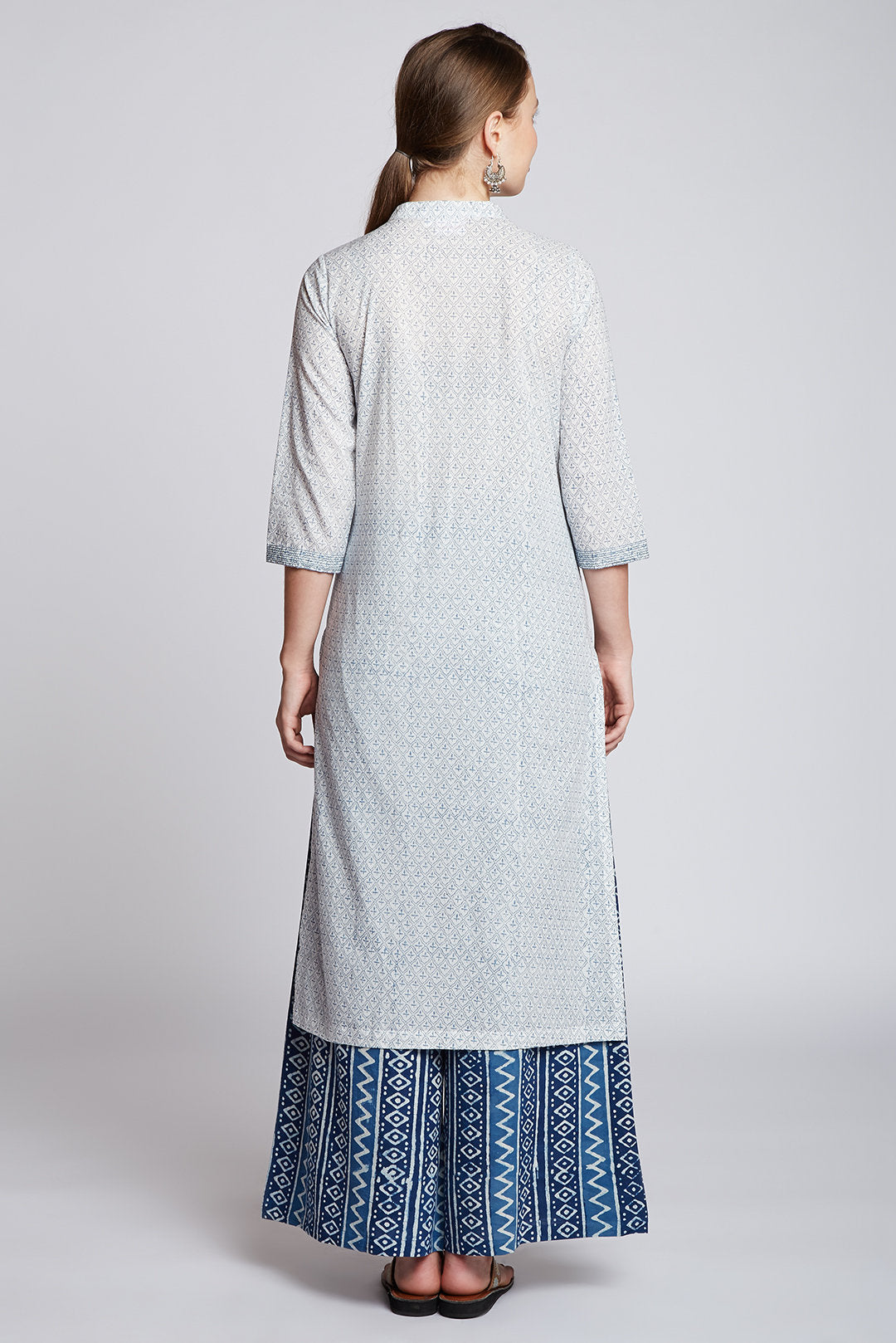 Hand block printed indigo palazzo with long hand block printed cotton kurta