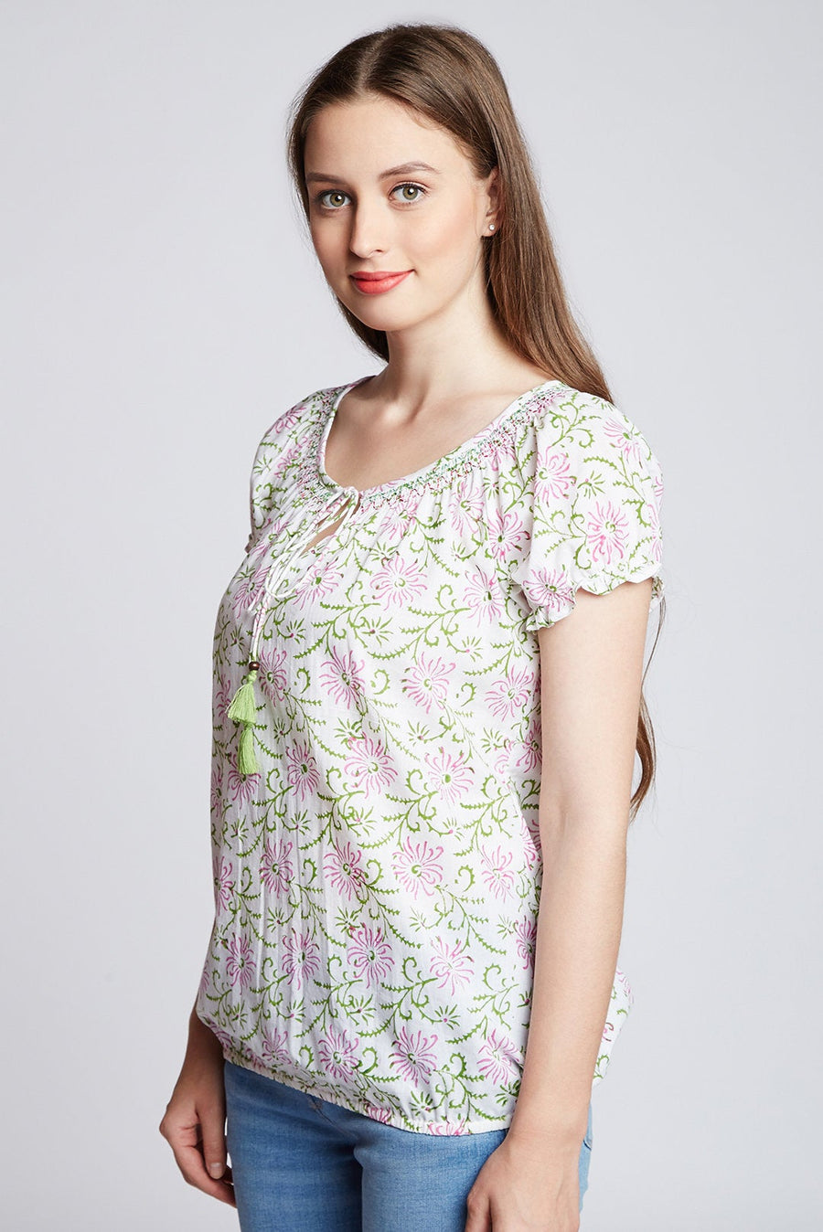 Hand block printed casual elasticated smocking Top/ Blouse