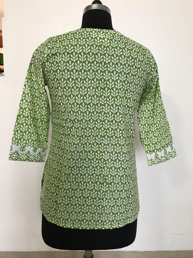 Hand Block printed Indian Green Tunic/ Kurti