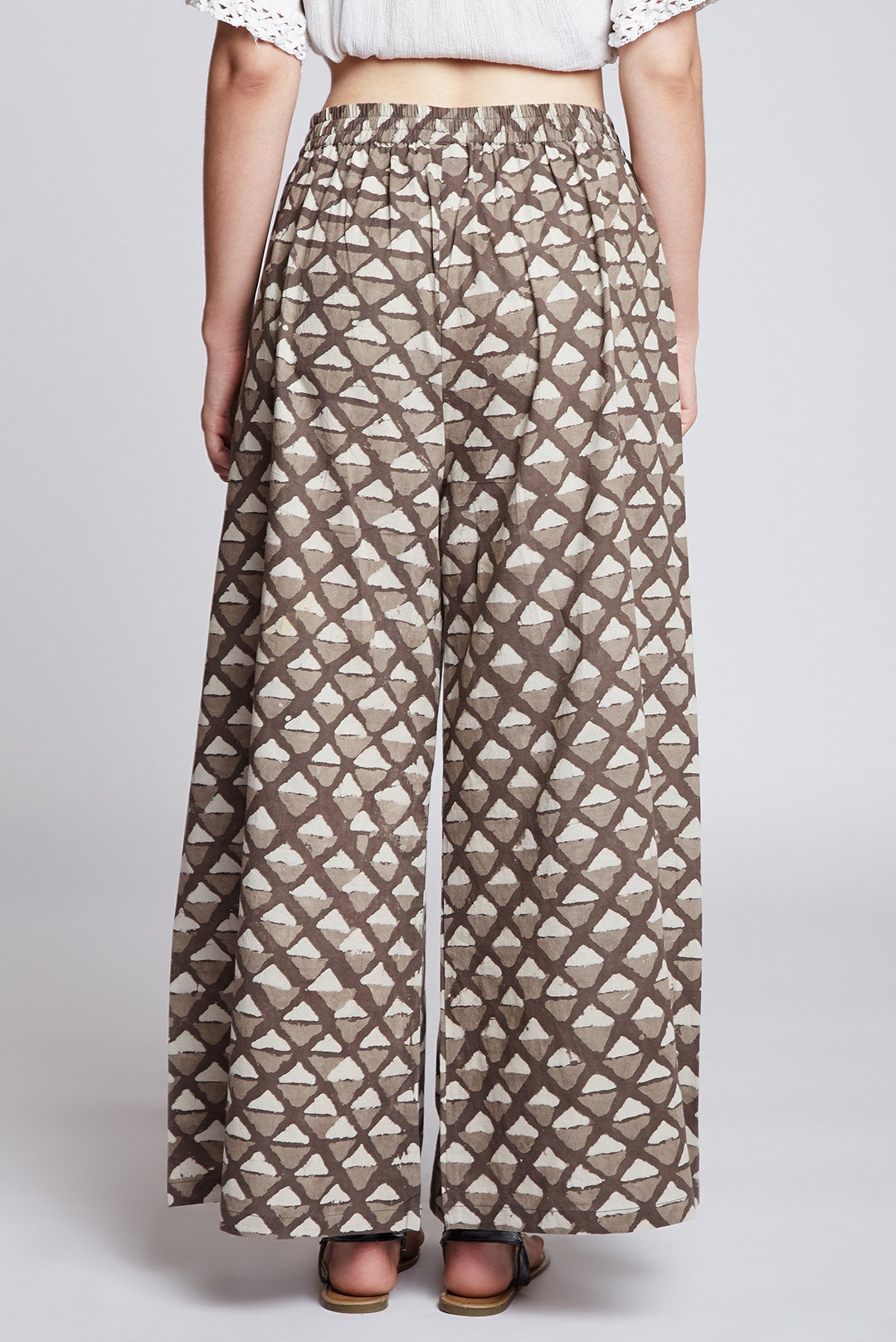 Dabu hand block printed cotton palazzo pants / flared pants