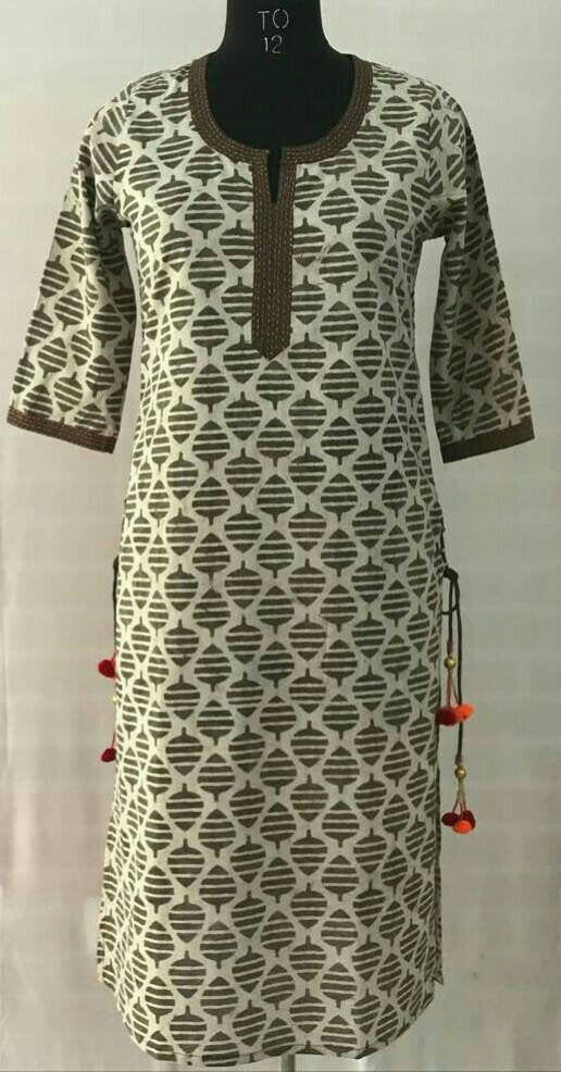 Hand block dabu printed ethnic long Indian kurta with side tassels and hand embroidery on neck
