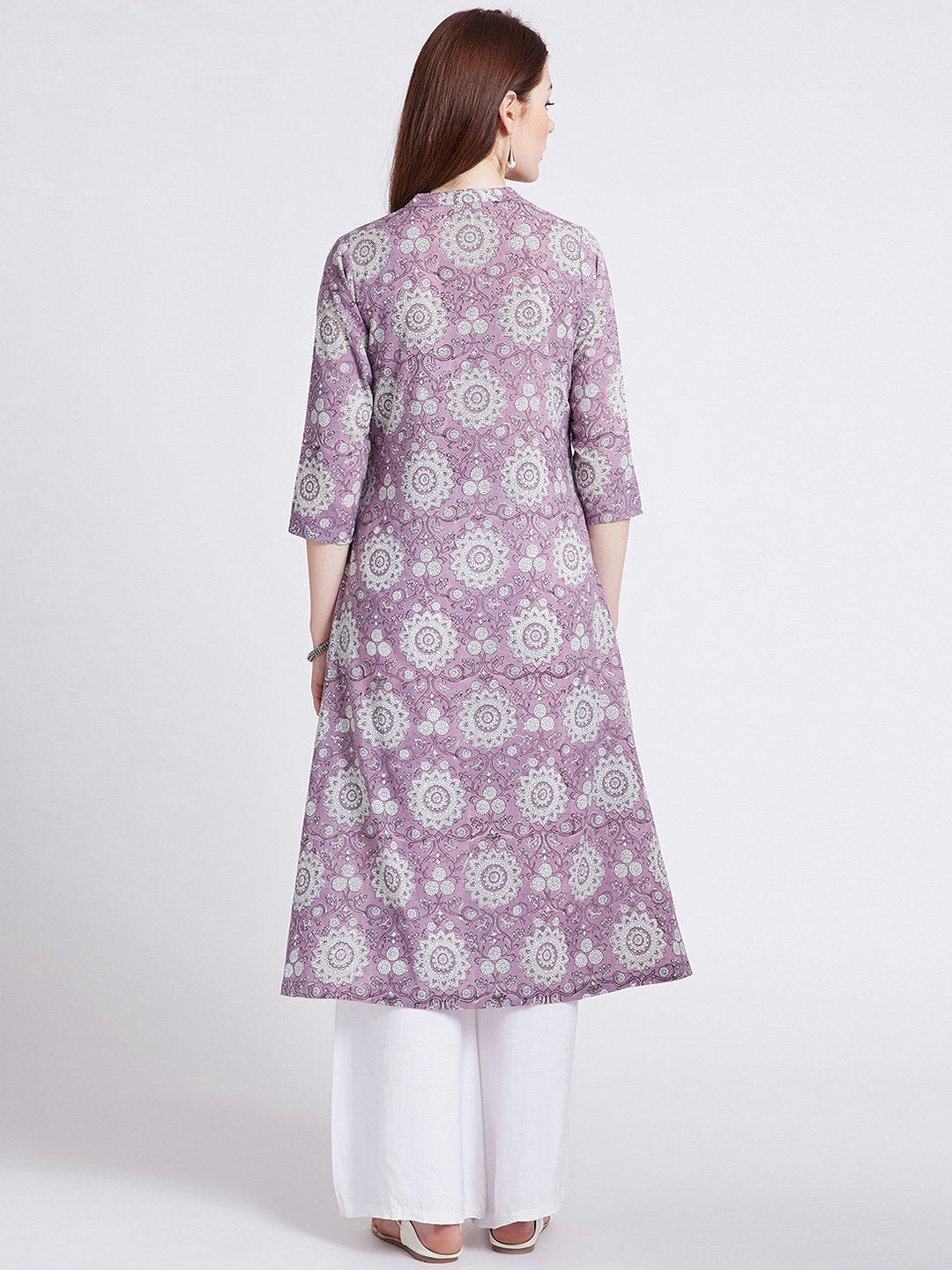 Indian ethnic hand block printed long kurta with front slit in purple colour with pockets with button detailing on front
