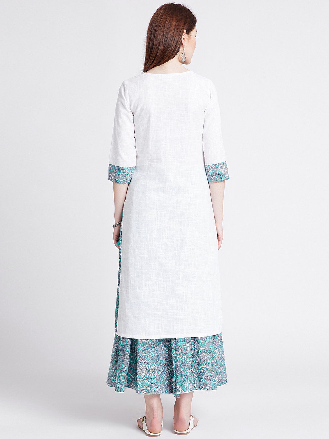 Hand block printed skirt with white long cotton kurta with detailing on neck, sleeves & slits
