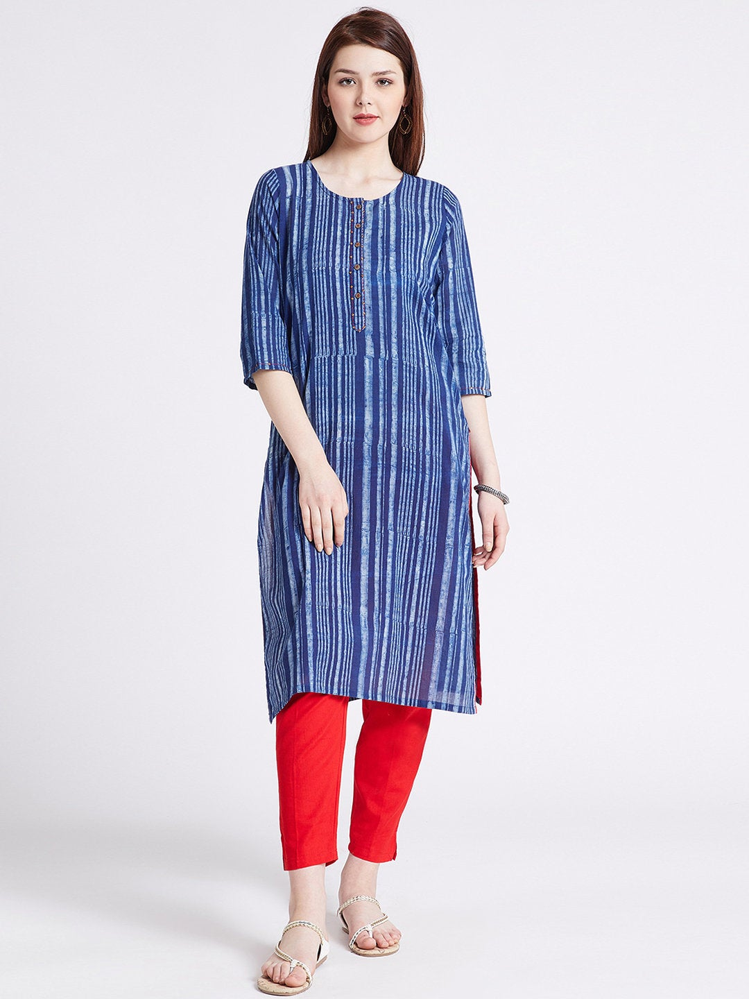 Indigo Hand block printed ethnic long Indian pocket kurta contrast trims & kantha hand embroidery