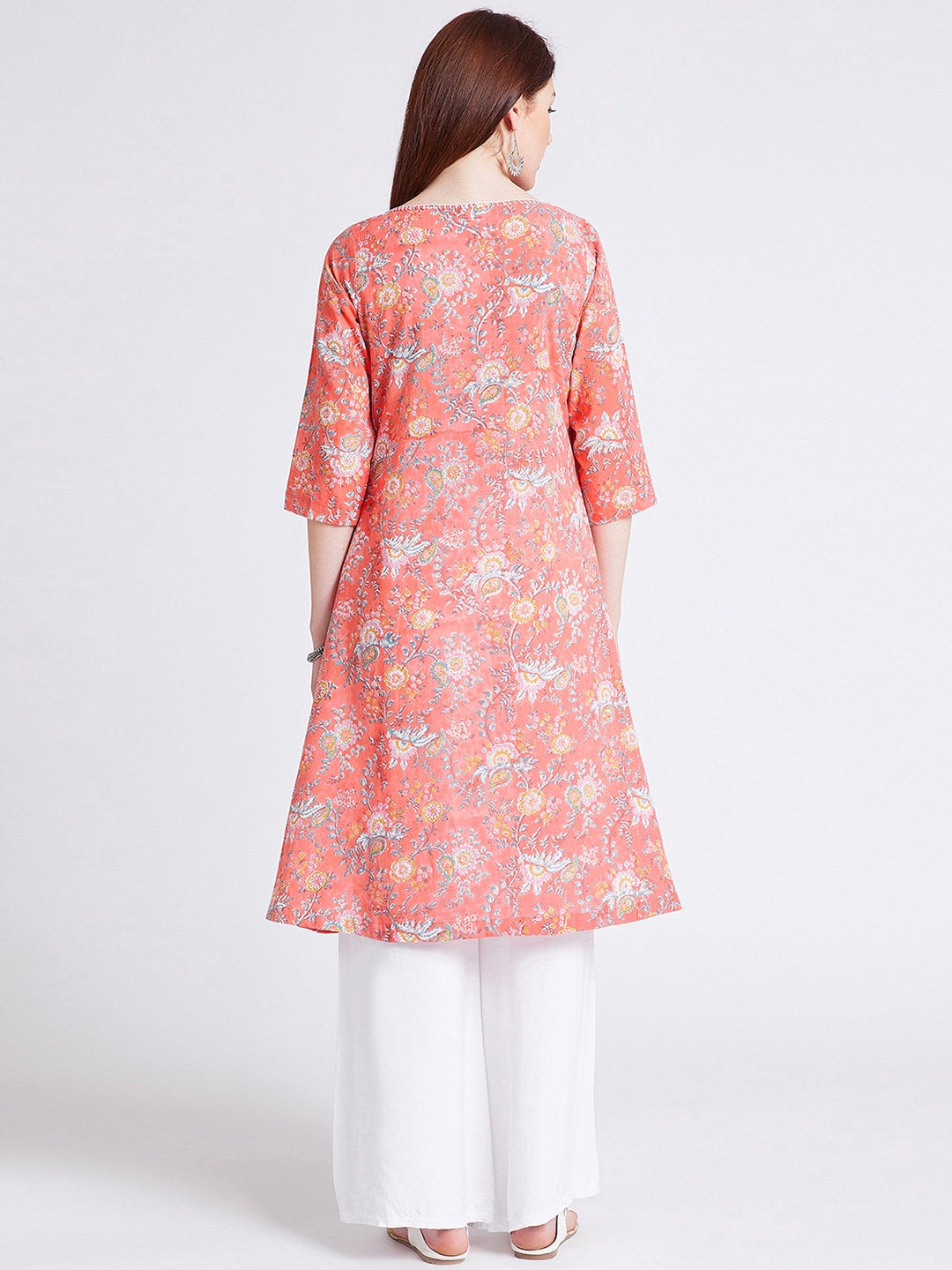 Indian ethnic hand block printed long kurta in peach colour with front kali & hand work detailing on neck