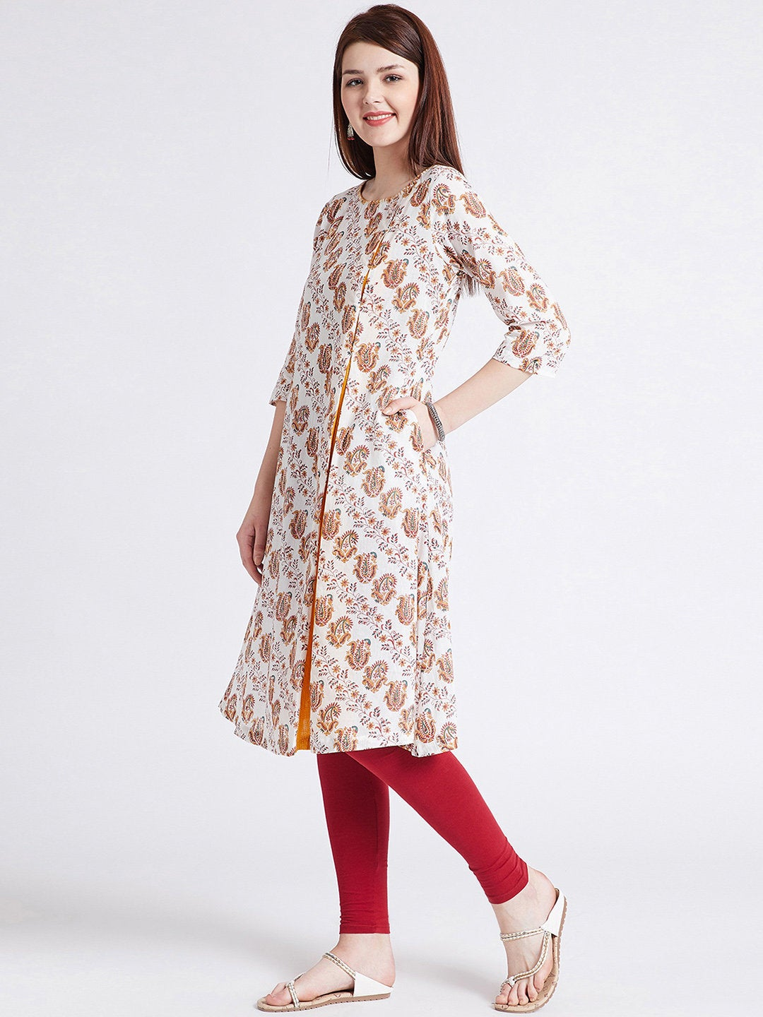 Indian ethnic hand block printed long kurta in white colour with front kali & hand work detailing on neck