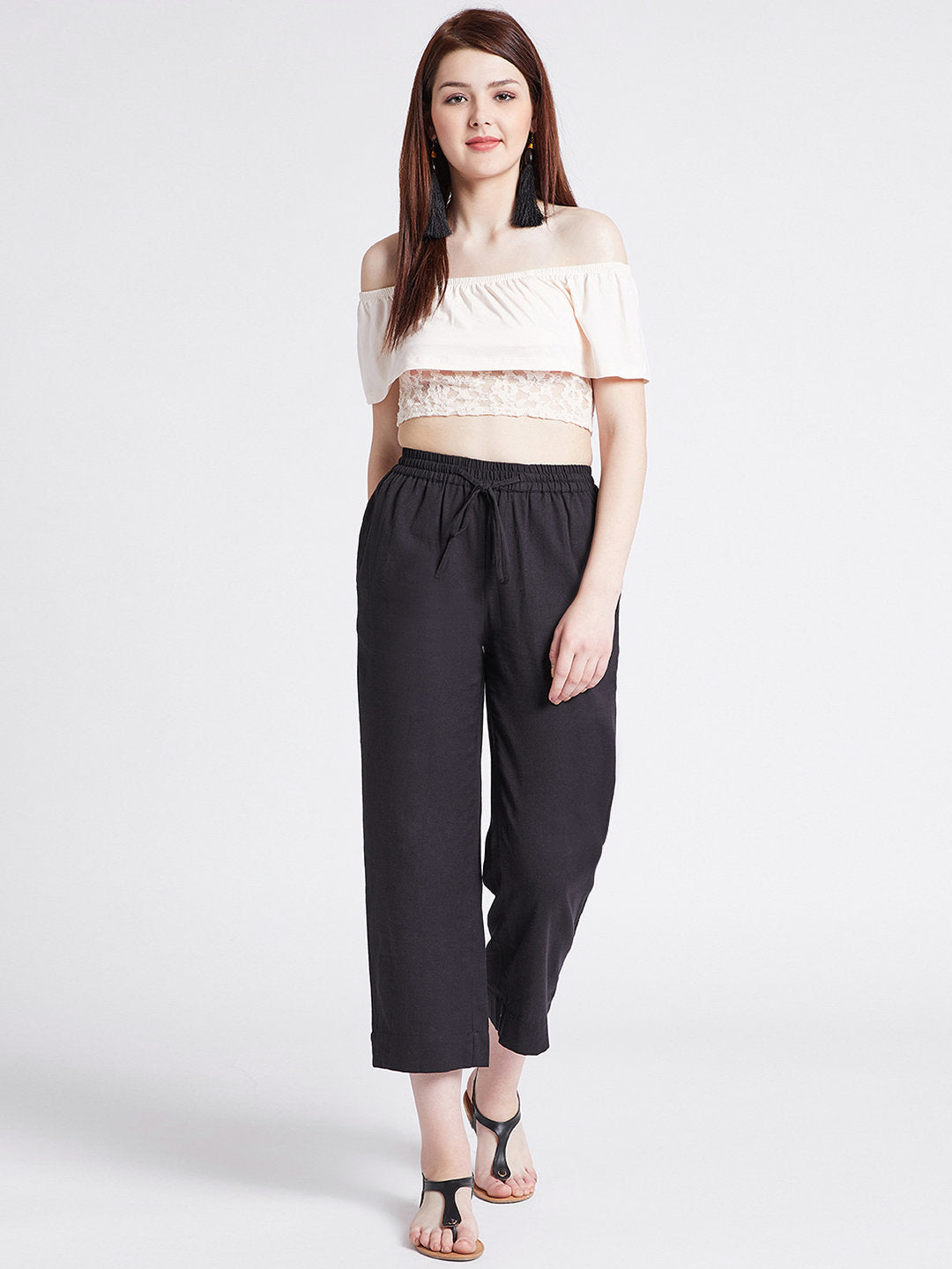 One Black cotton straight pant with pockets