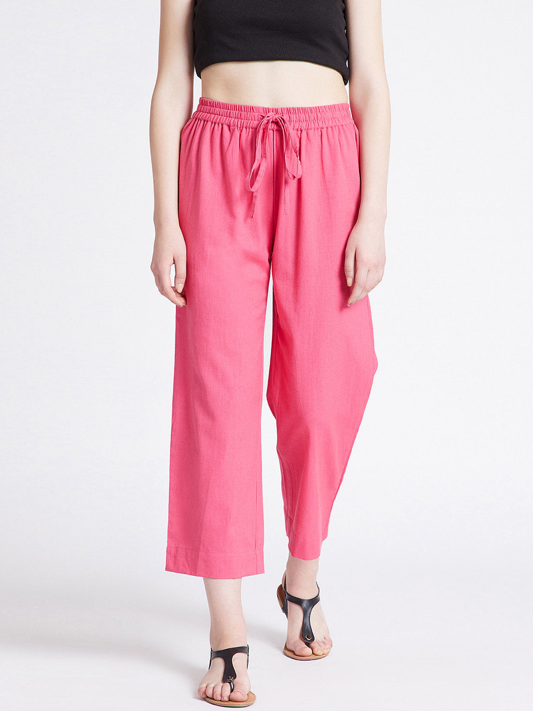 Pink cotton straight pants with pockets