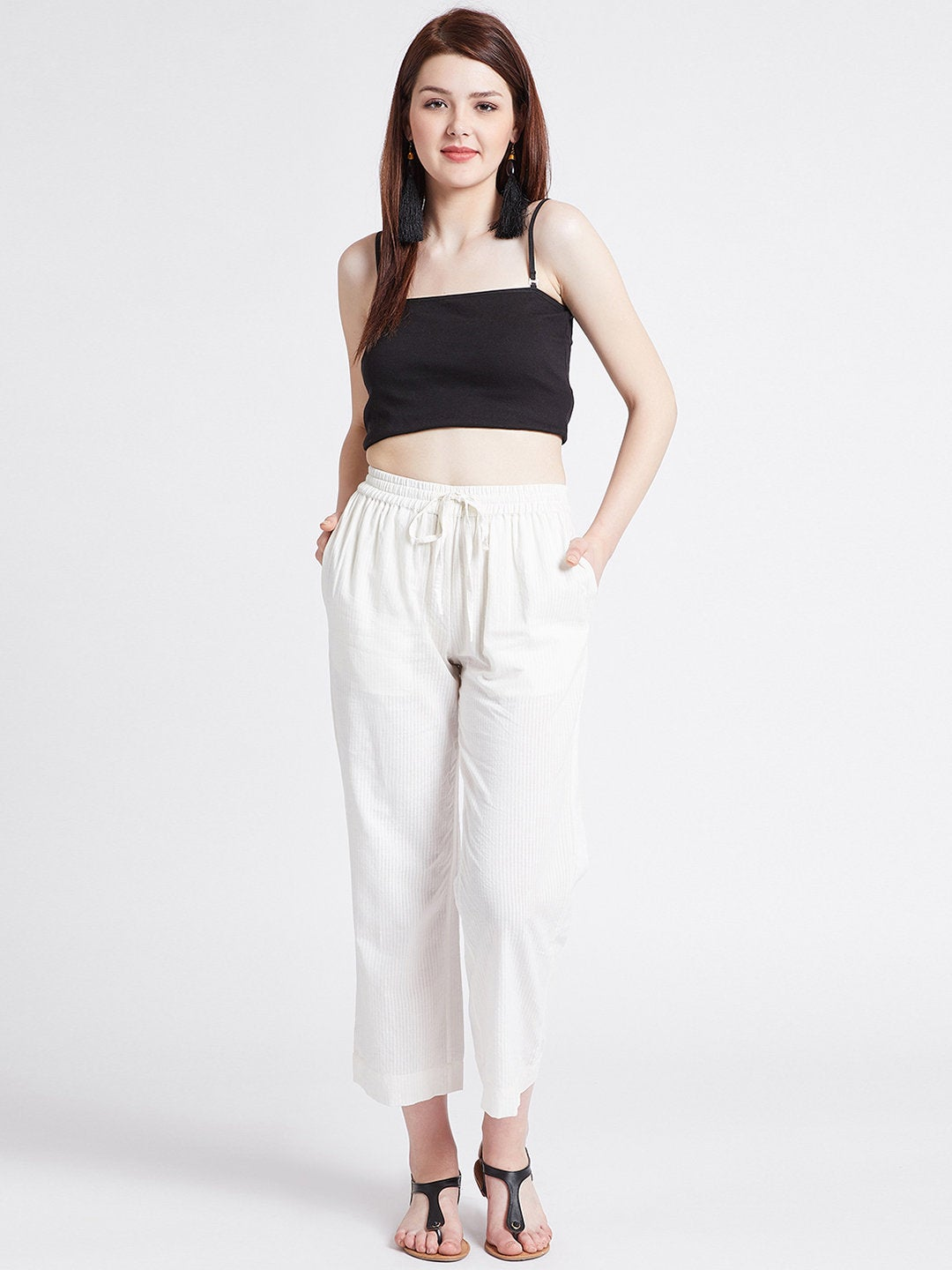 Off-white cotton straight pants with pockets