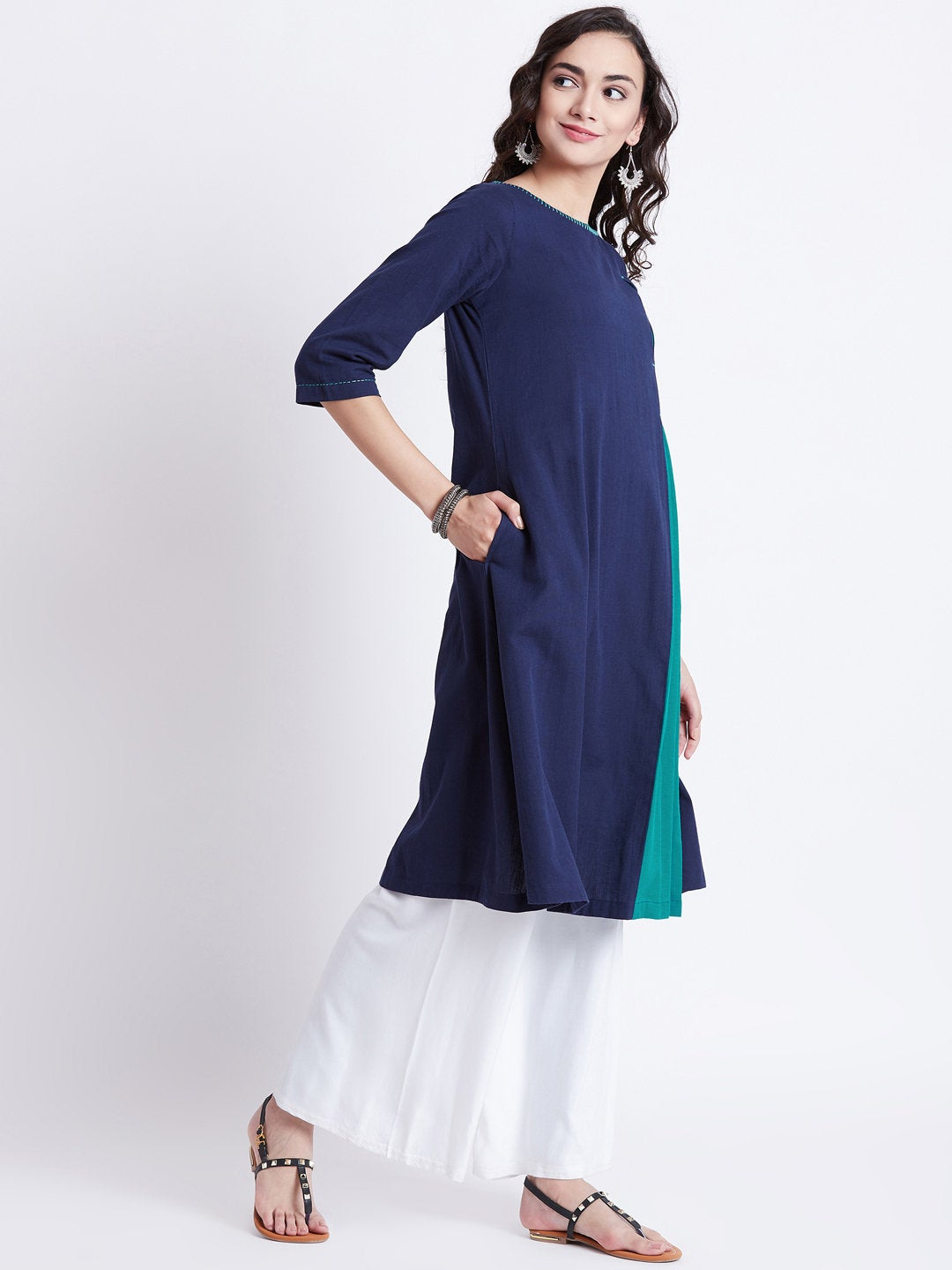 Indian ethnic long kurta in blue colour with front kali & hand work detailing on neck