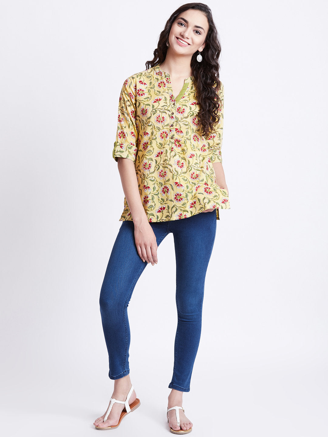 Hand Block Printed Indian tunic/ kurti in lime yellow colour in floral design