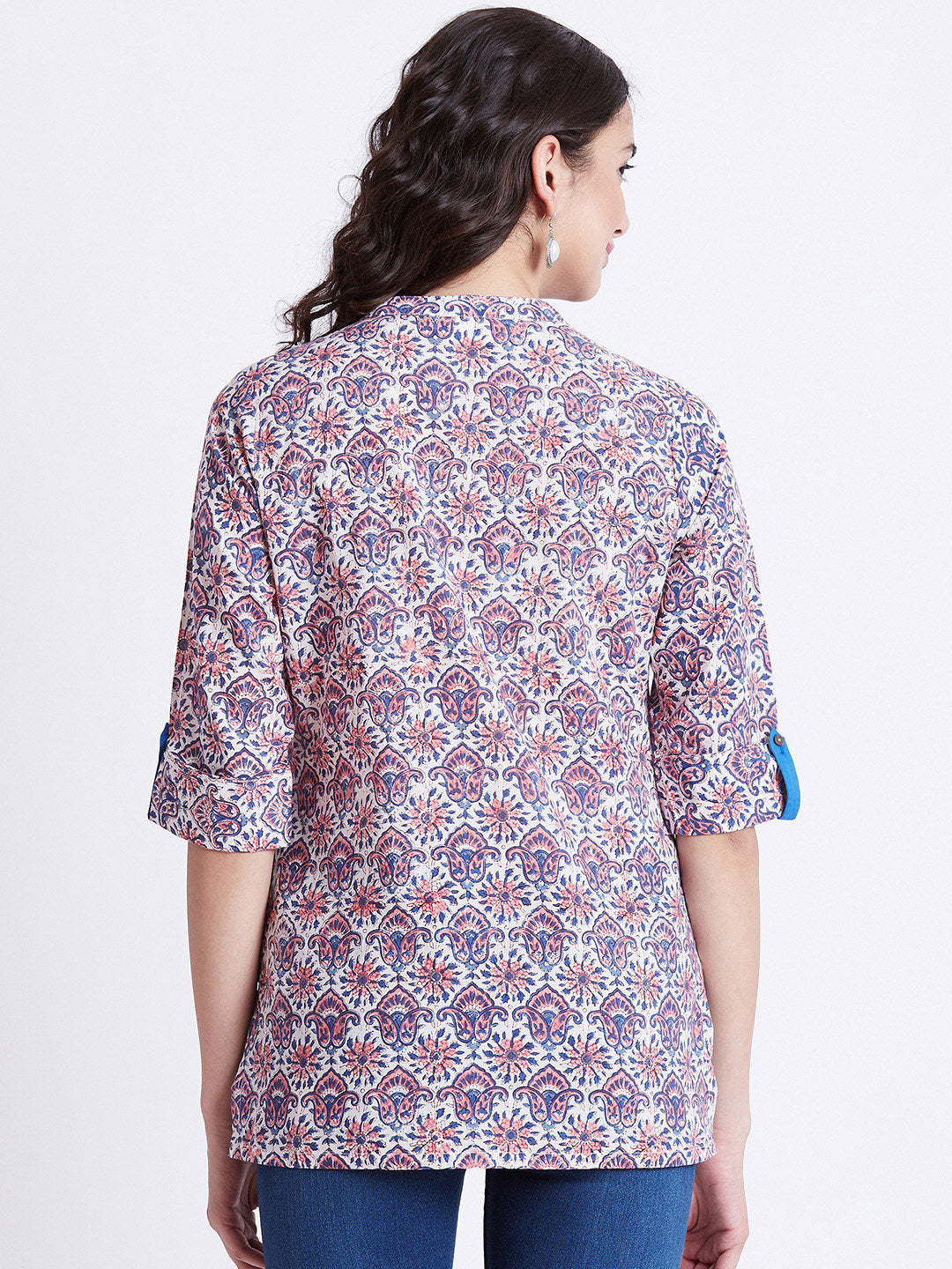 Hand Block Printed Indian tunic/ kurti in floral design