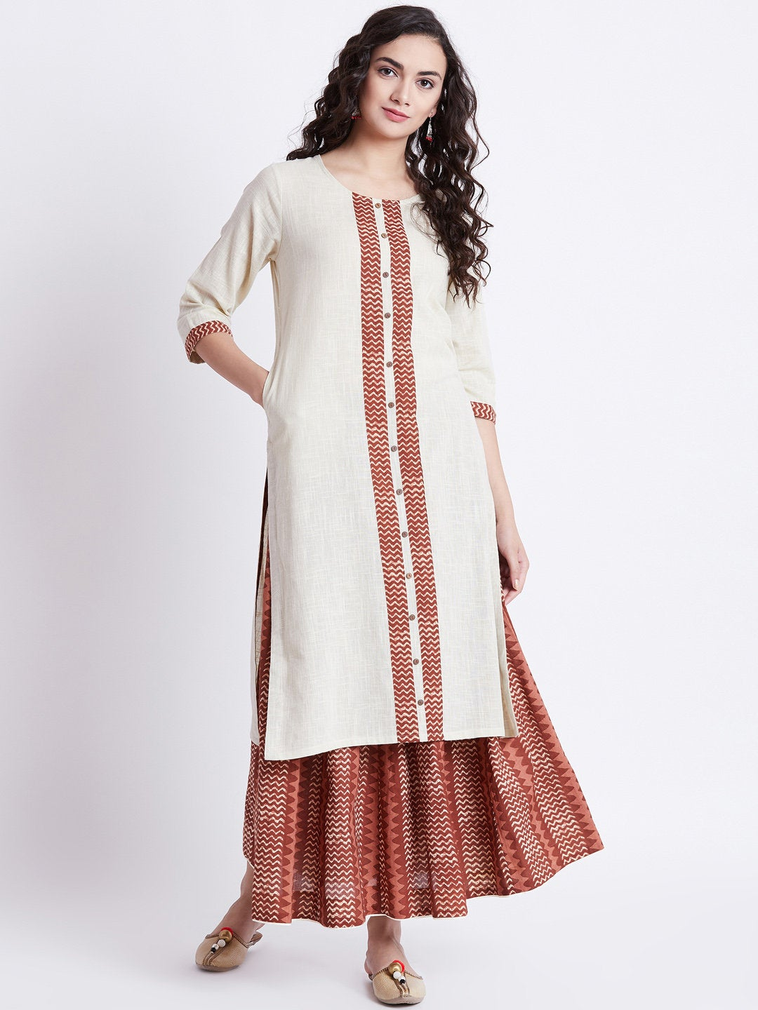 Hand block printed skirt with off-white long cotton kurta with print detailing on front & sleeves