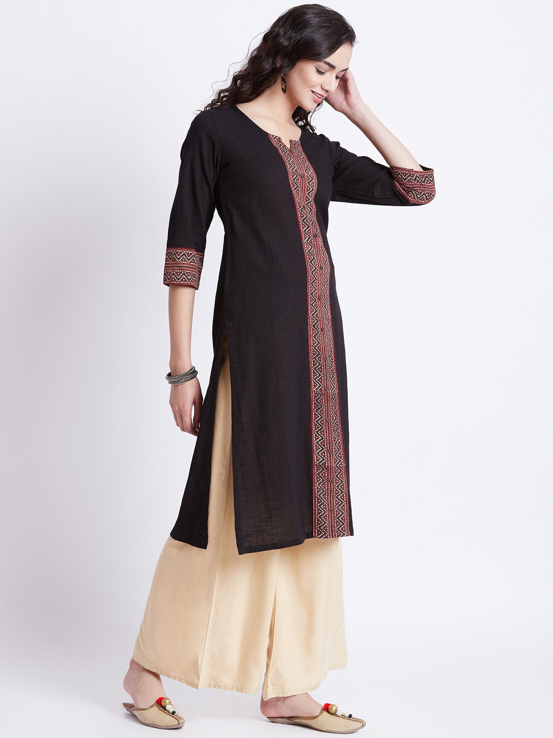 Indian ethnic long kurta with pocket in black colour with hand block printed ajrakh border detailing