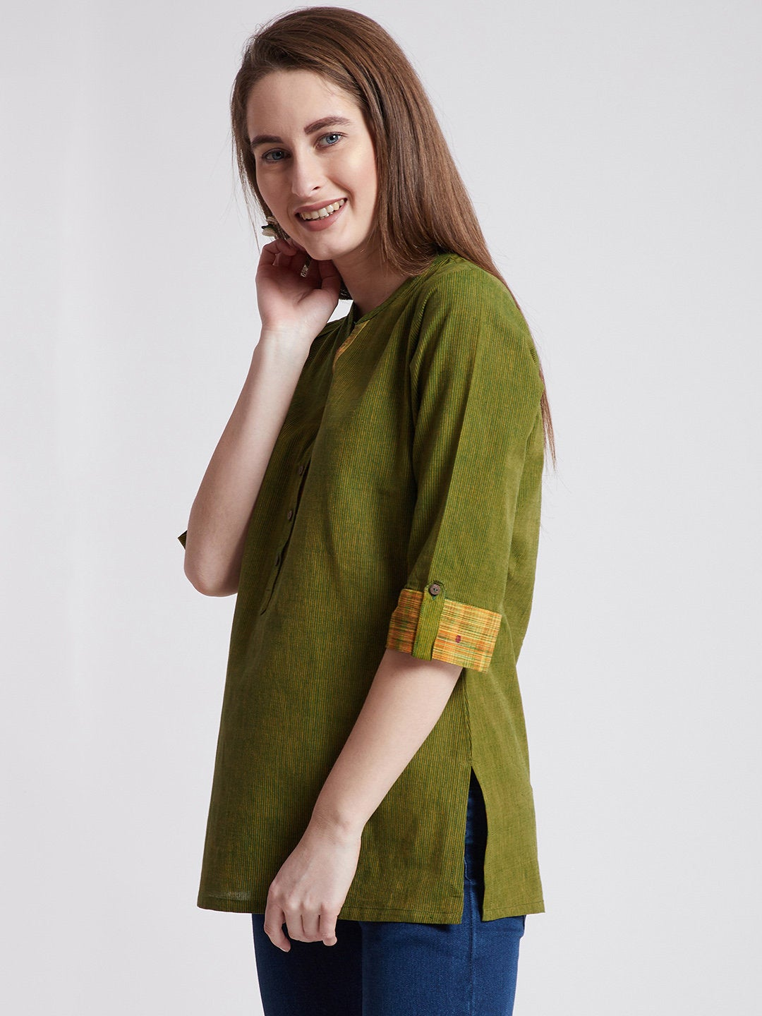 Indian ethnic green tunic/ kurti in mangalgiri cotton