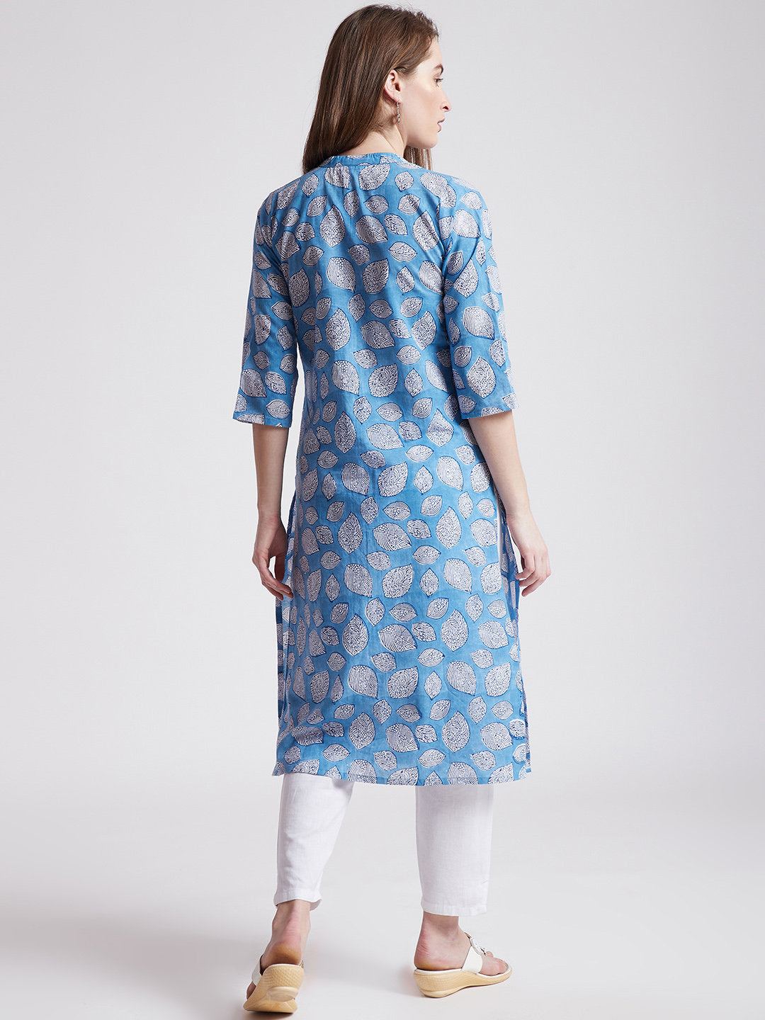 Hand block printed ethnic long Indian kurta in blue colour with front slit