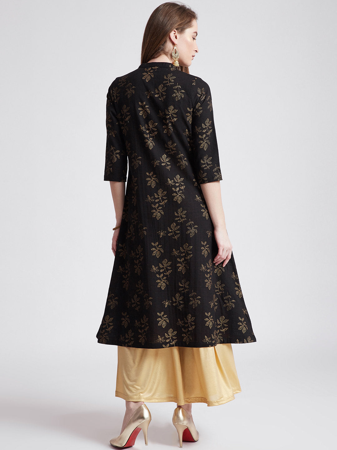 Indian ethnic gold hand block printed long kurta with front slit in black colour with pockets and button detailing on front